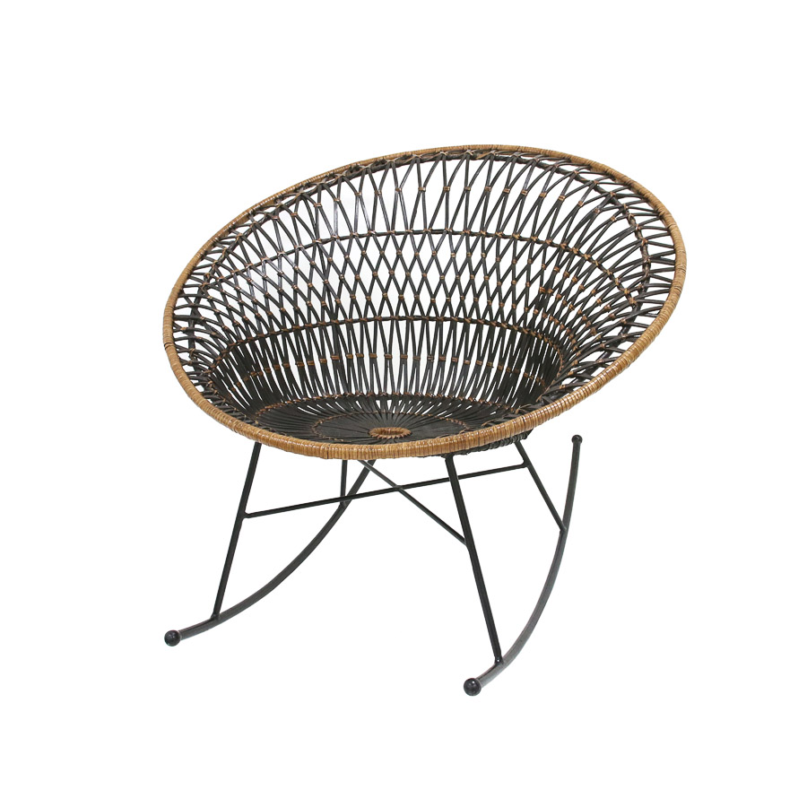 Cadeira de baloiço em vime natural, preto/bege