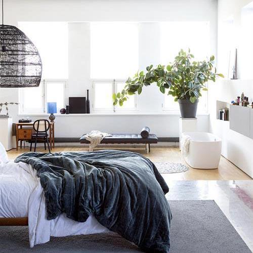 Candeeiro de tecto em vime natural, Ø60x50 cm