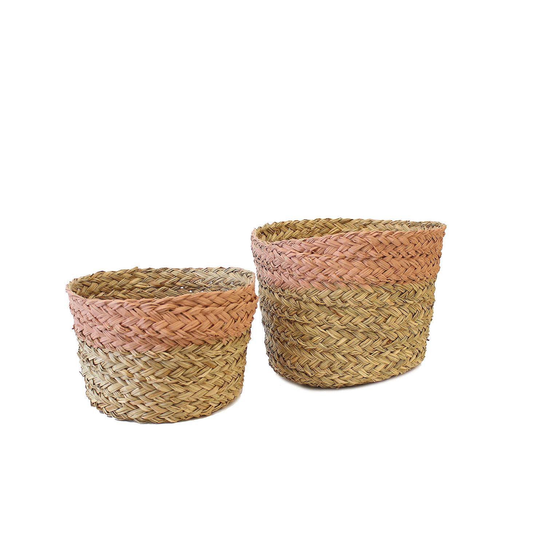 Cestas em seagrass, rosa, (Conj.2)