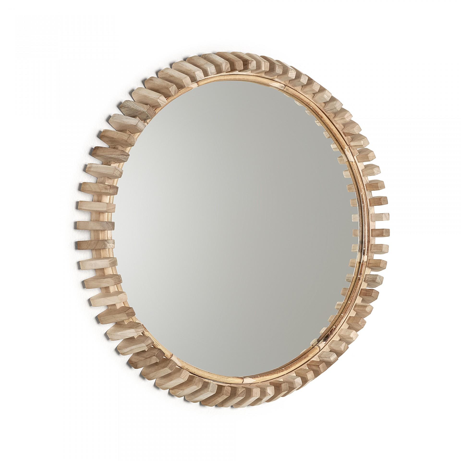 Espelho Polk, madeira teca natural, Ø52cm