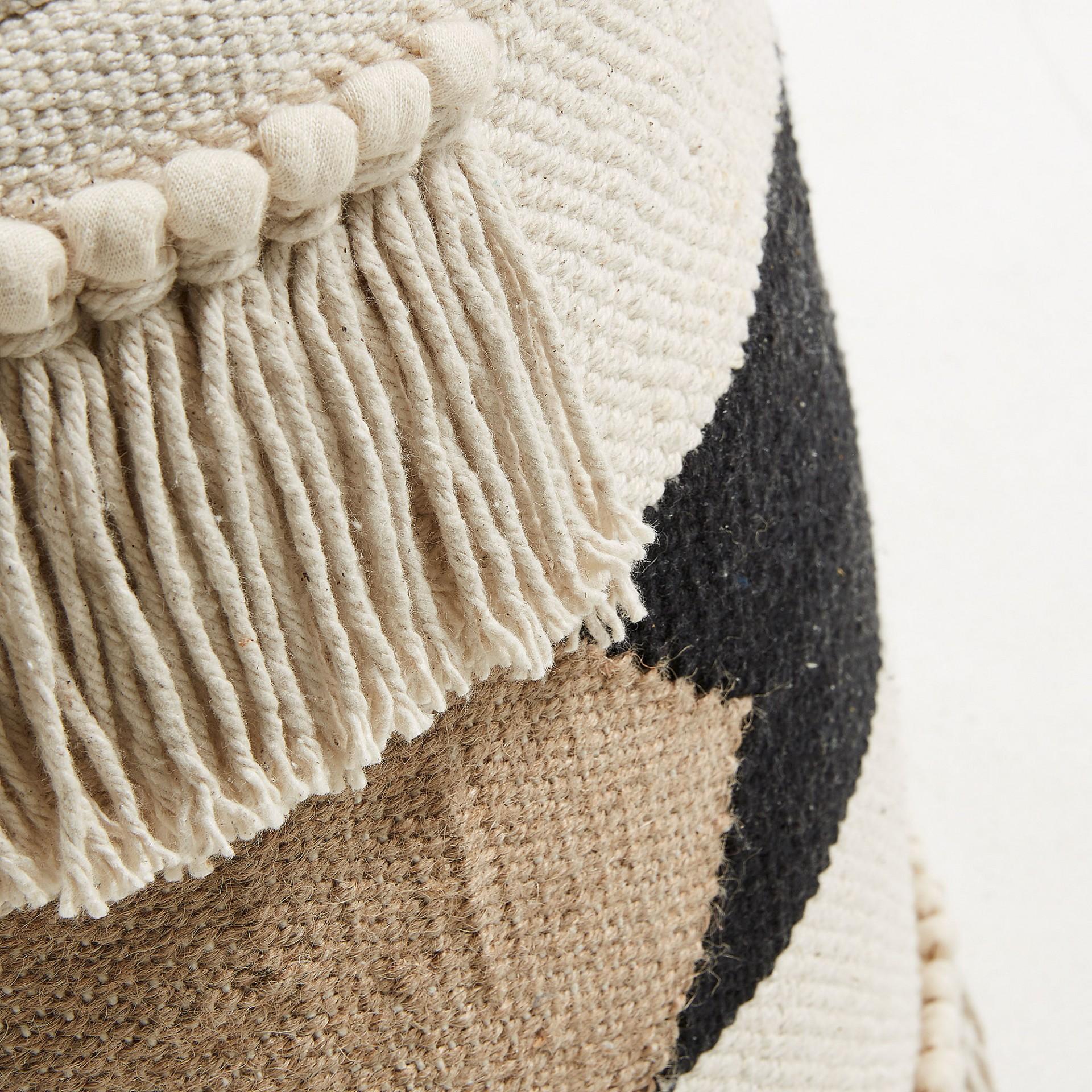 Puff Natalia, algodão, branco/preto, 45x50 cm