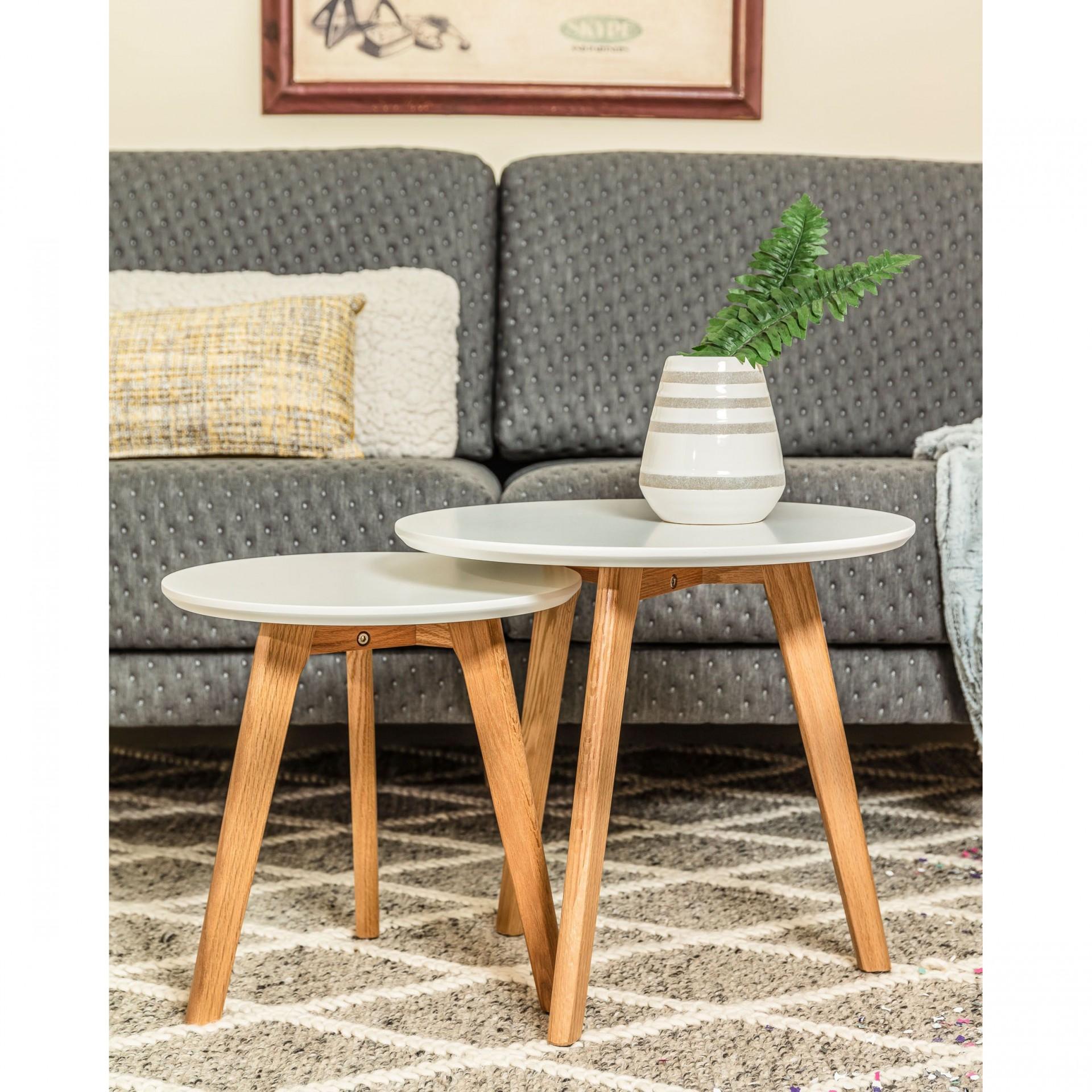 Mesas de apoio, madeira carvalho/MDF lacado, (Conj.2)