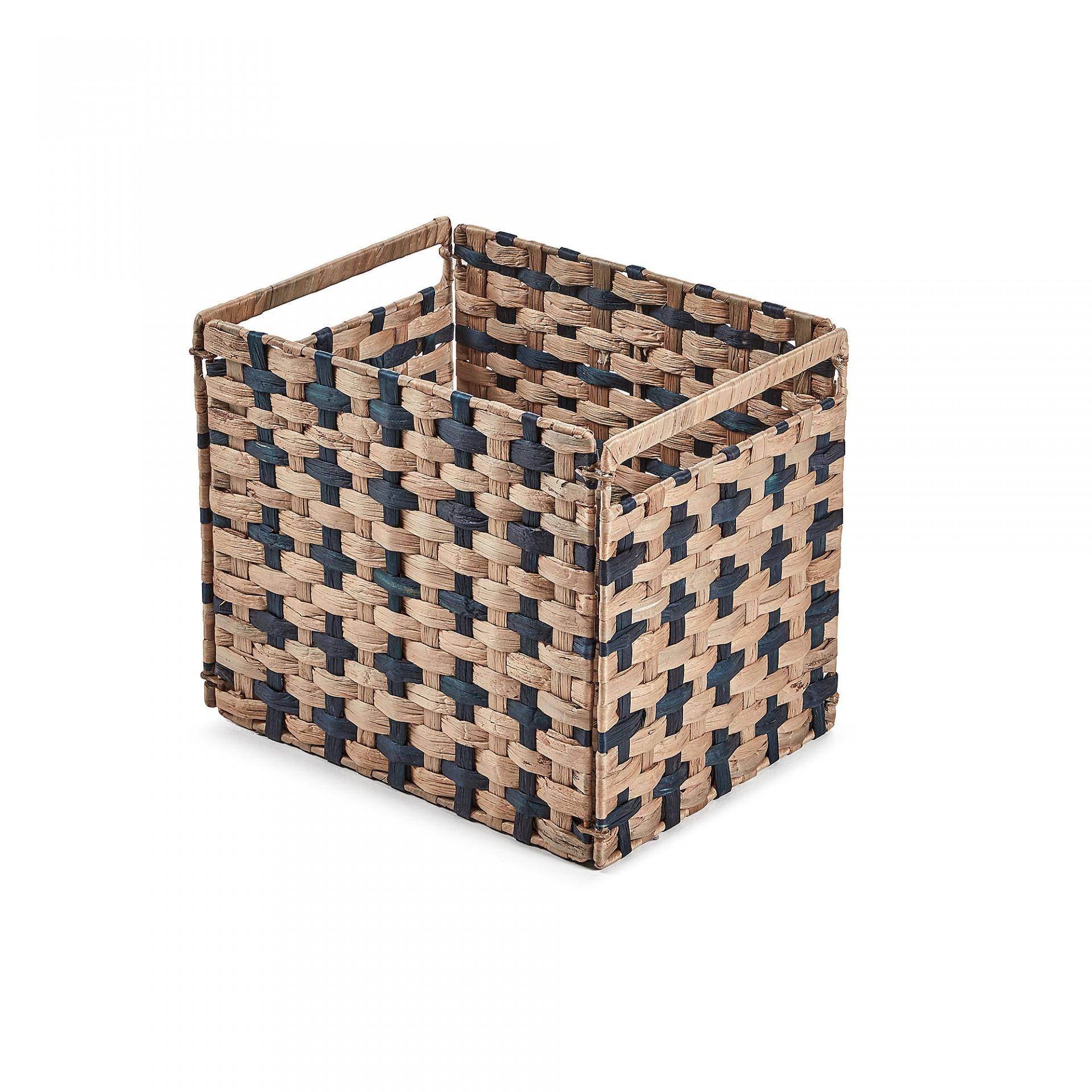 Caixa de arrumação em vime/metal, preto, 27x35 cm