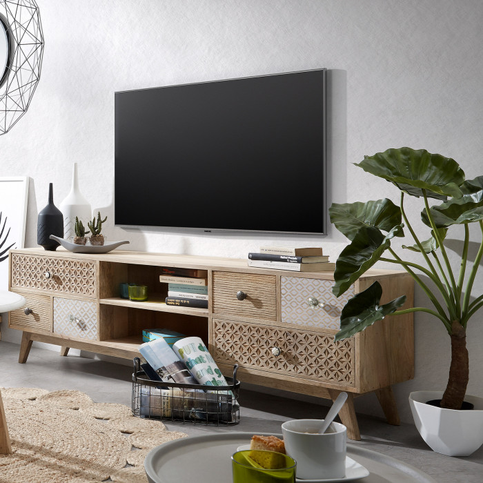 Móvel de TV em madeira de mangueira, 51x160 cm
