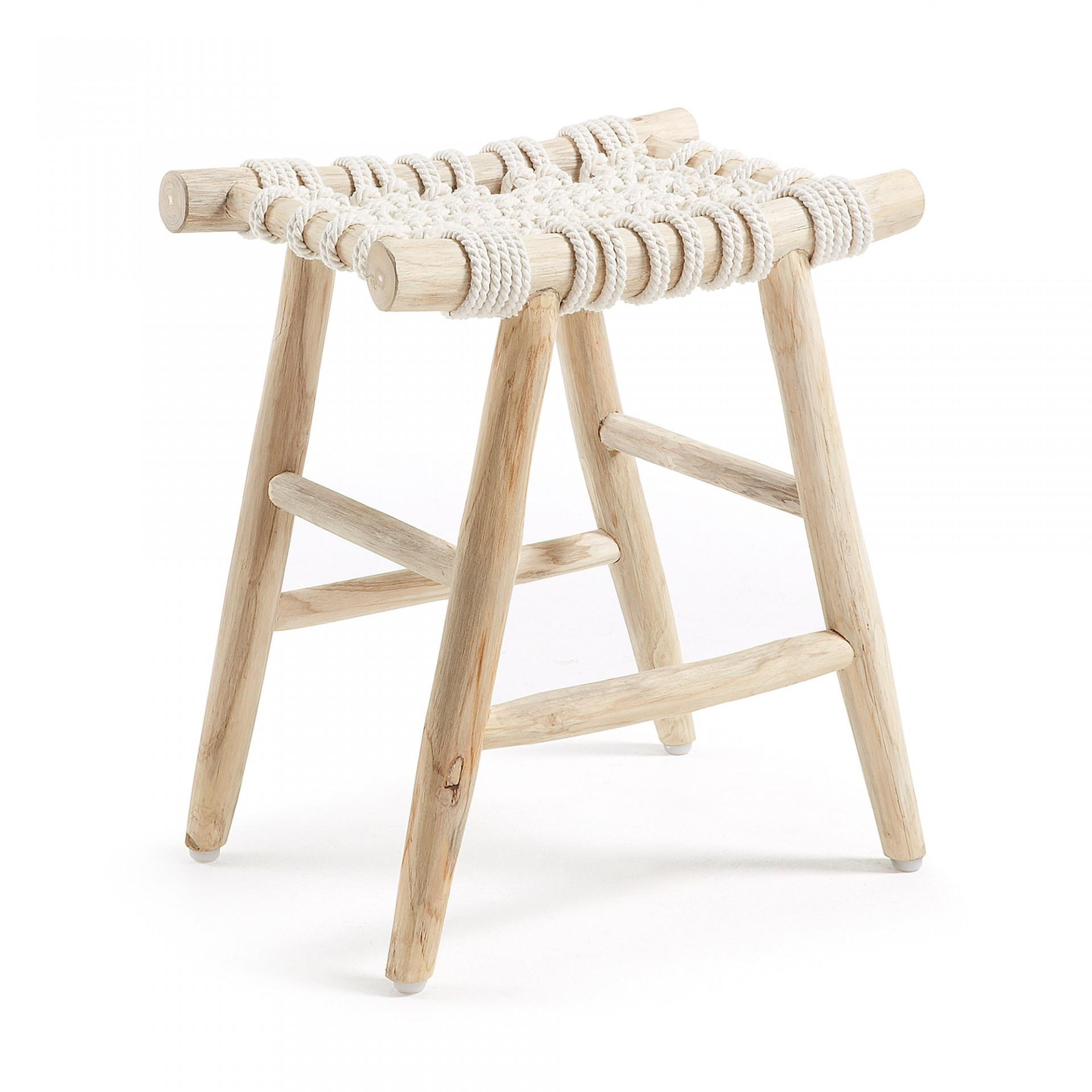 Tamborete em madeira teca e corda de algodão, 45x32 cm