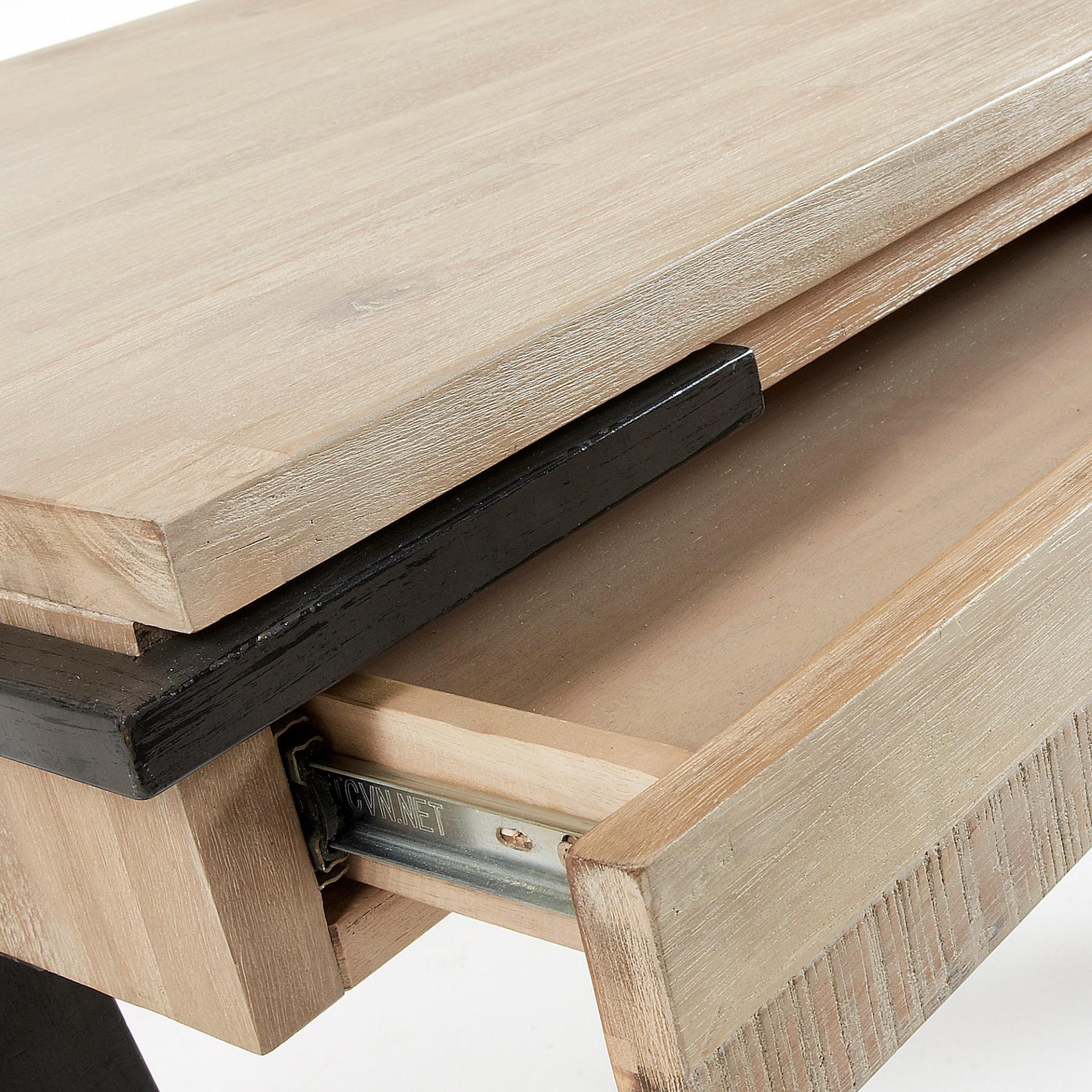 Secretária em madeira de acácia natural, 77x125 cm