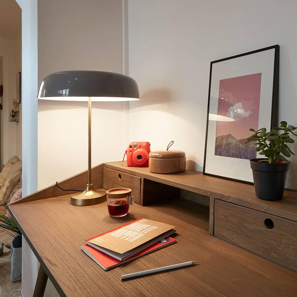 Candeeiro de mesa Bery, metal, Ø41x55 cm