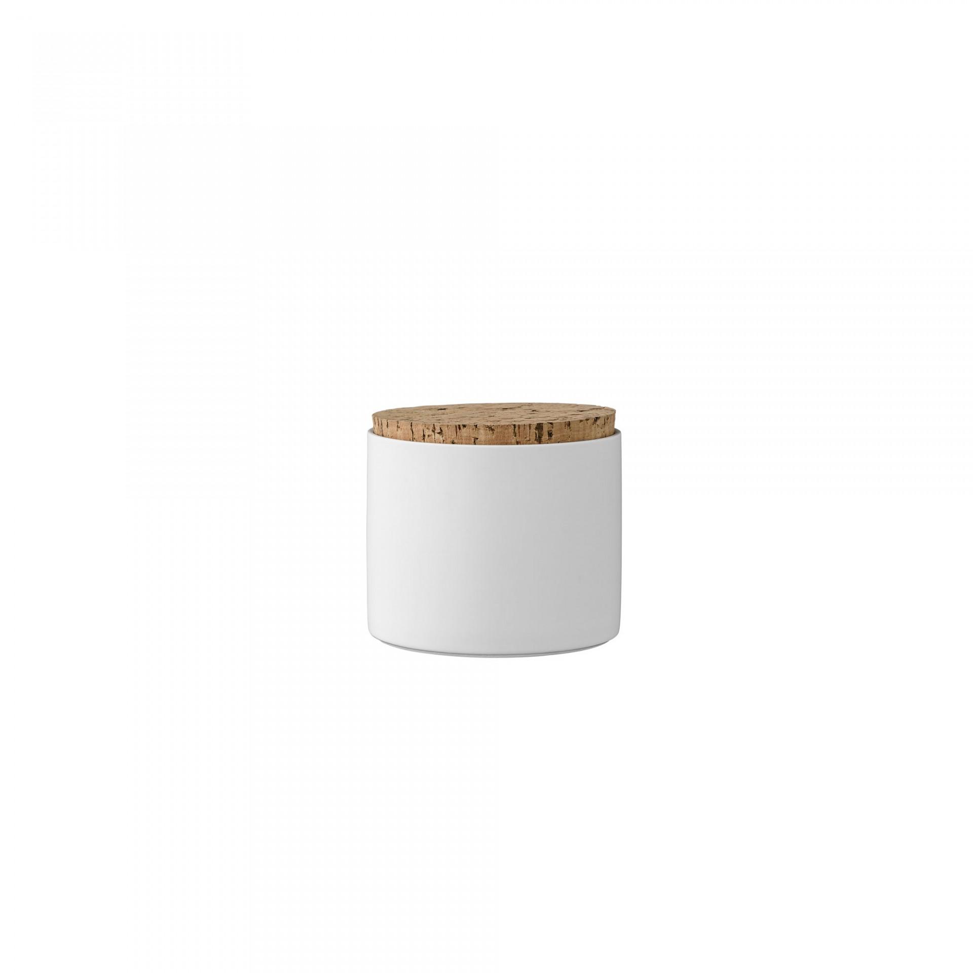 Pote em porcelana c/tampa cortiça, Ø11x12 cm