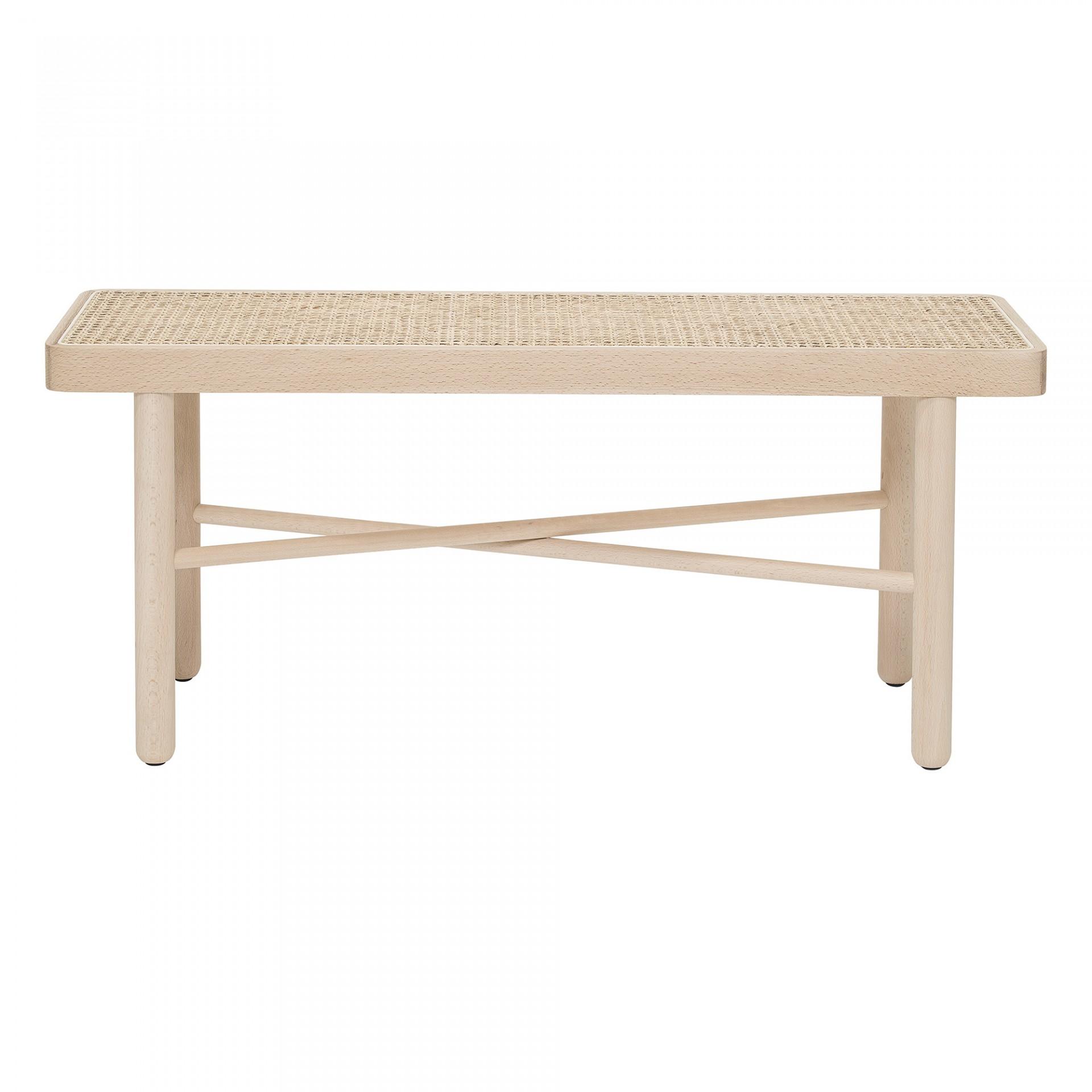 Mesa de apoio Luna, madeira faia/vime natural, 100x30 cm