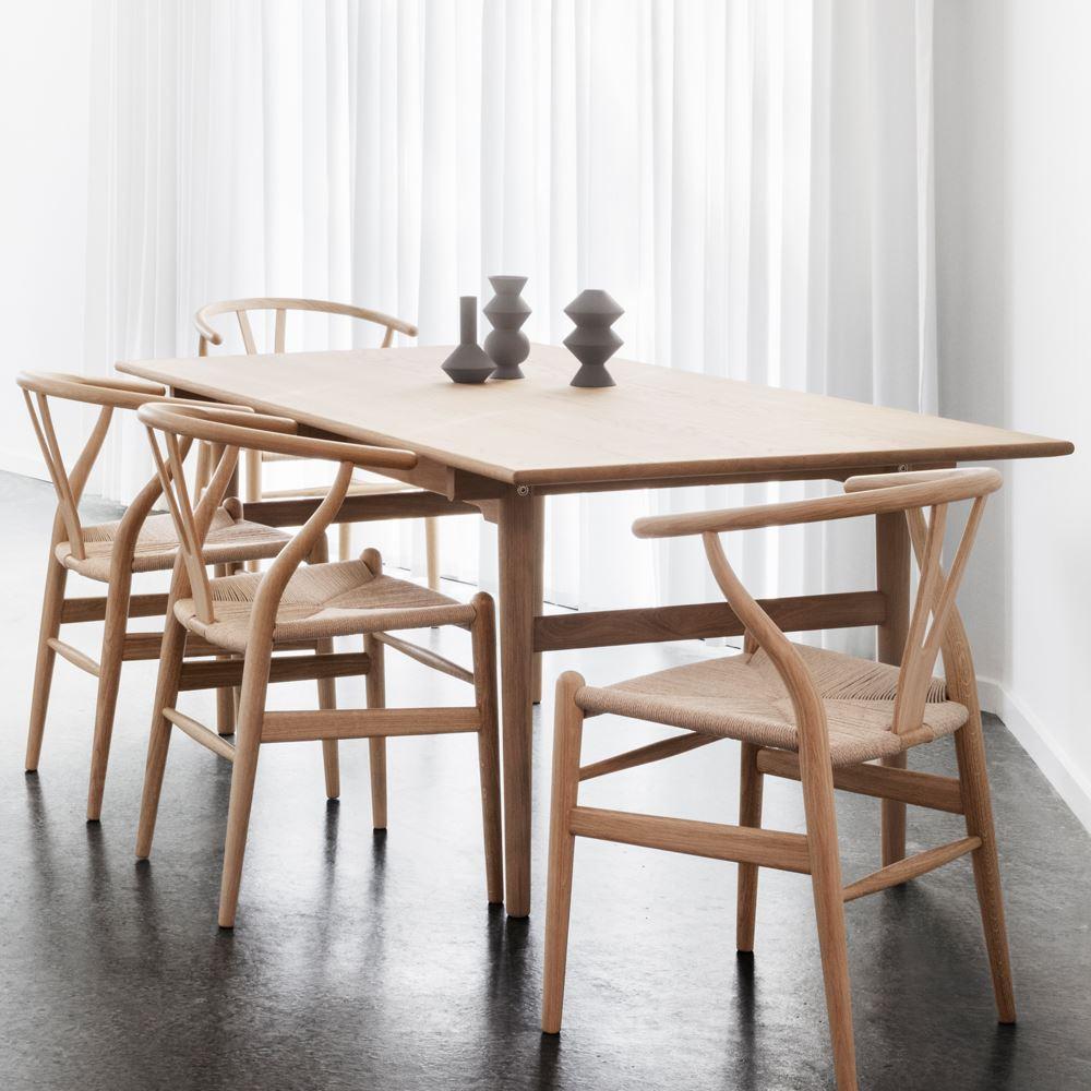 Cadeira Wishbone, madeira de carvalho, vime natural, 50x74 cm