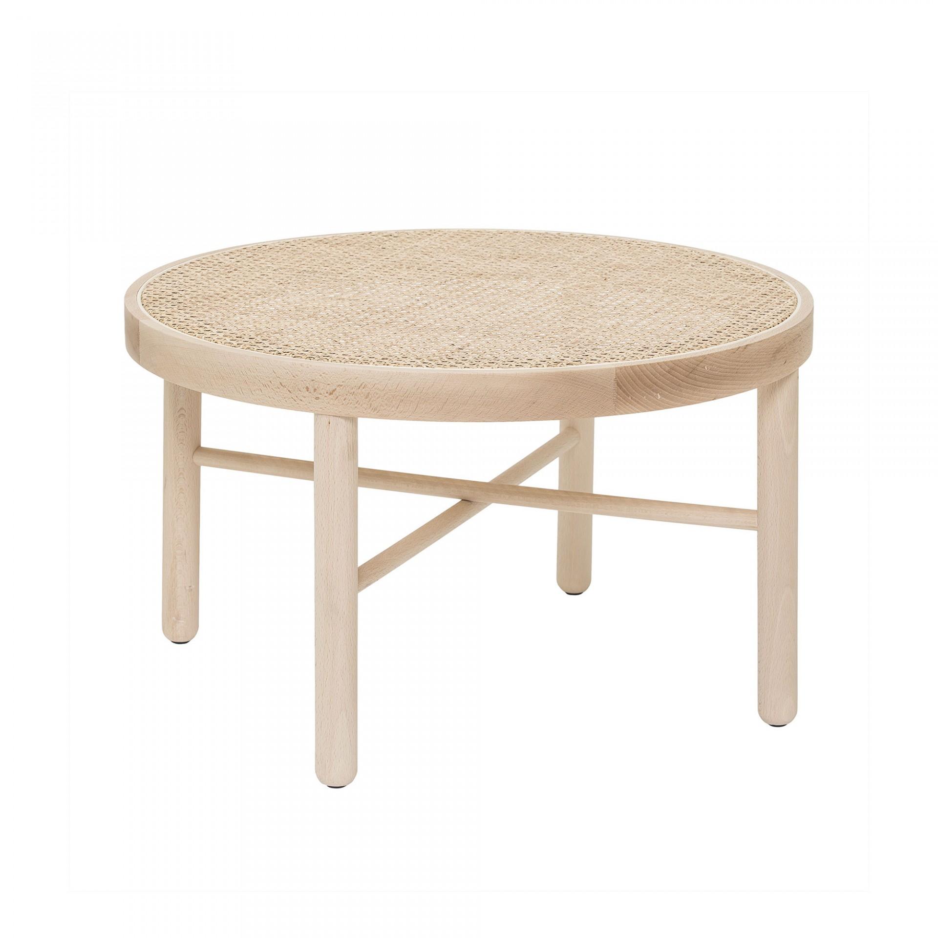Mesa de centro Luna, madeira faia/vime natural, Ø70x40cm