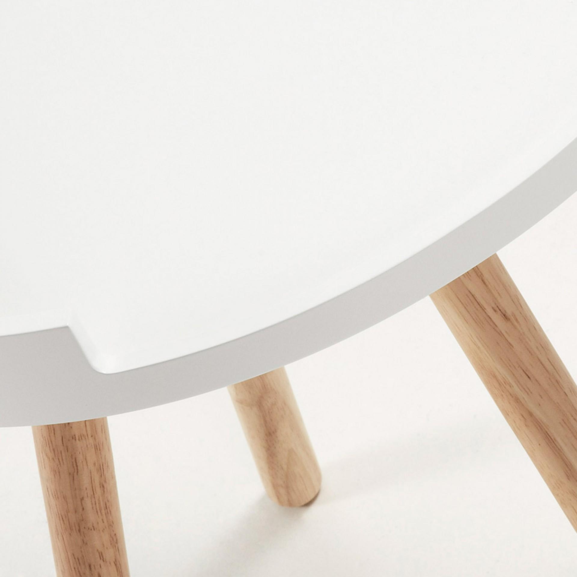 Mesa de apoio, madeira de seringueira/MDF lacado, Ø46x46 cm