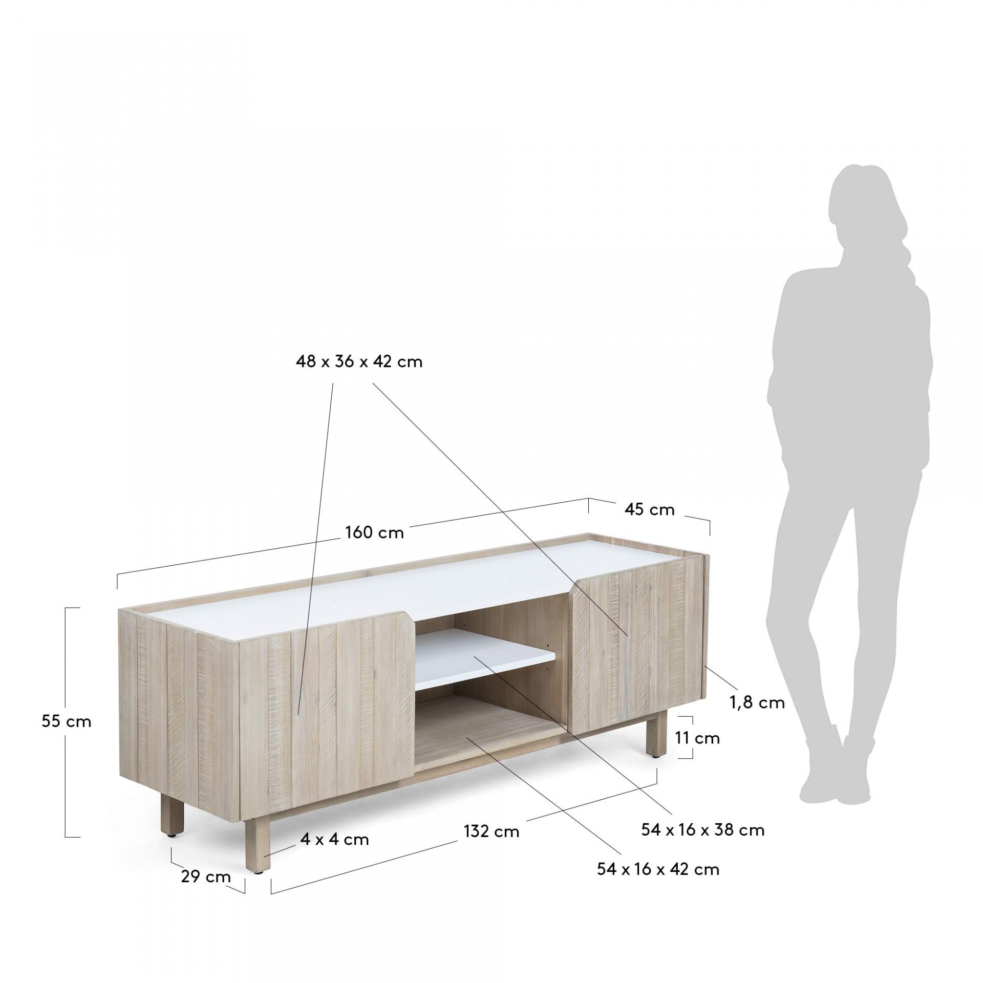 Móvel de TV em madeira de acácia natural, 55x160 cm