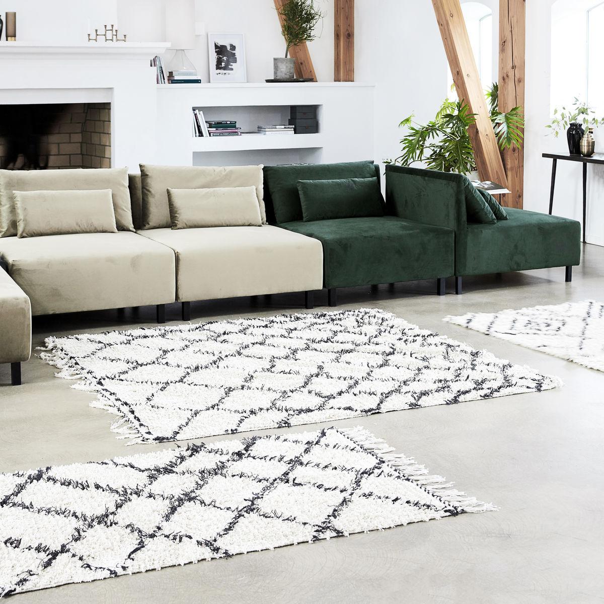 Tapete Zena, c/franjas, algodão, 180x180 cm