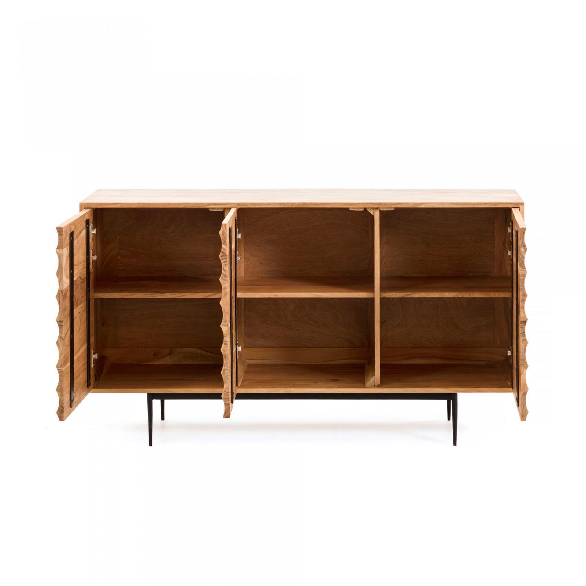 Aparador Delie, madeira de acácia/metal, 81x147 cm