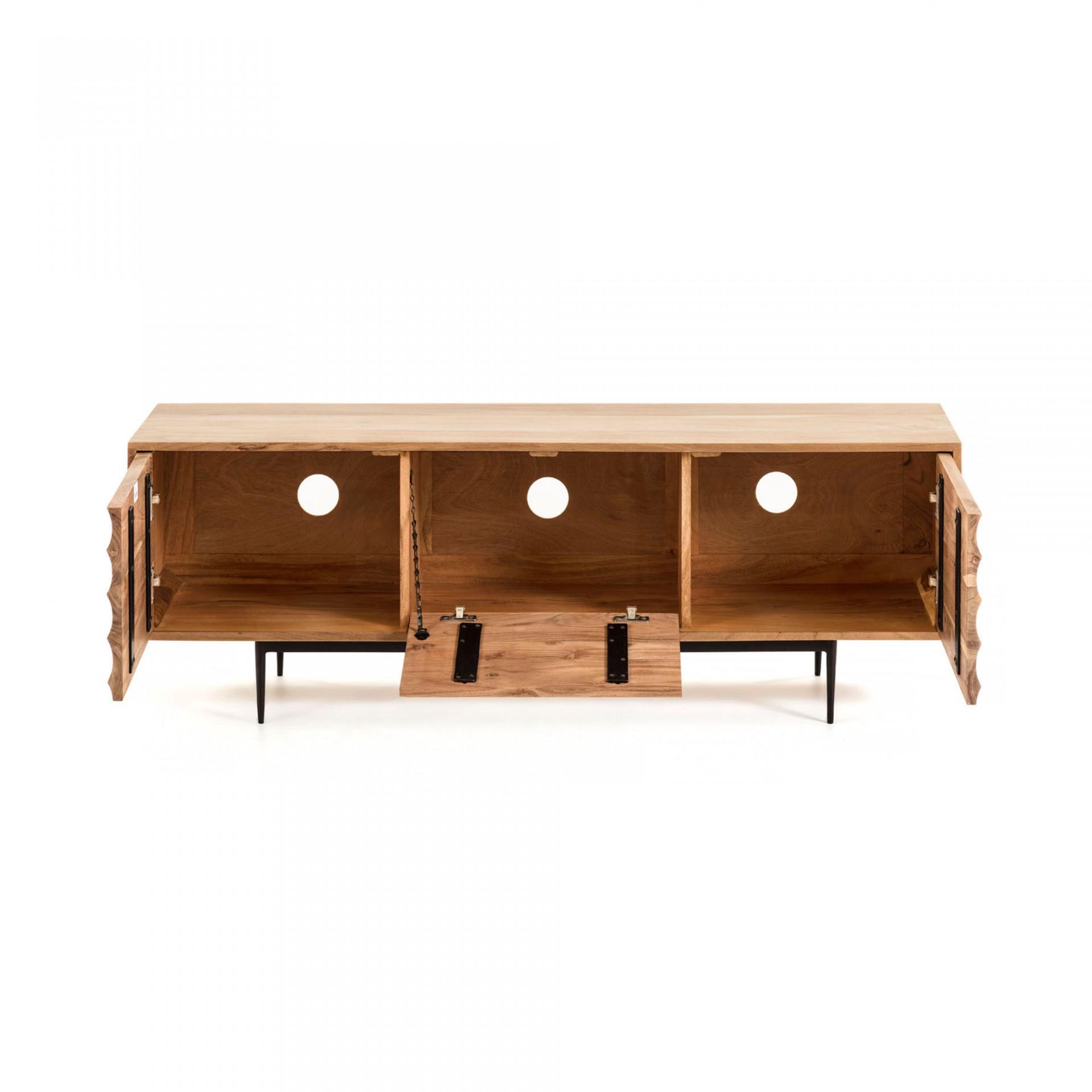 Móvel TV Delie, madeira de acácia/metal, 50x147 cm