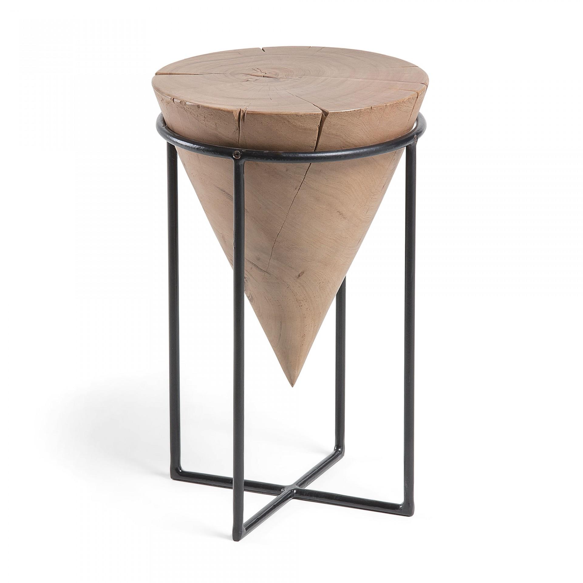 Mesa de apoio em madeira de acácia/metal, Ø31x50 cm