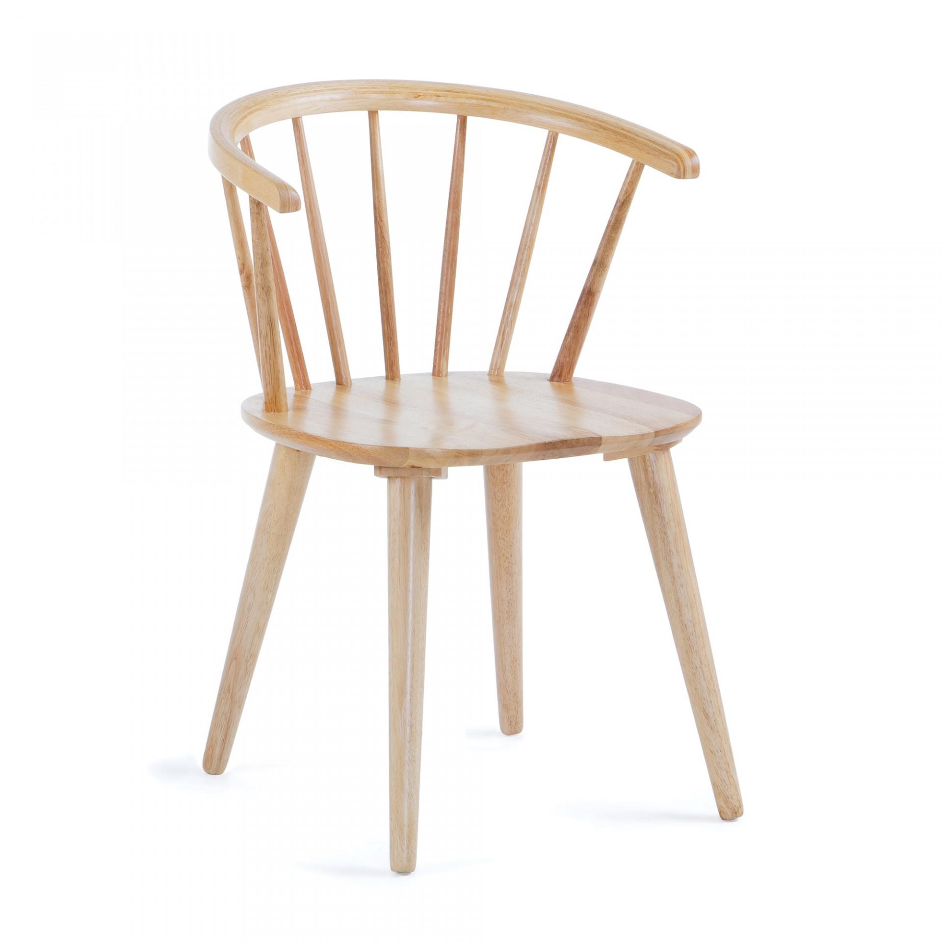 Cadeira Kris em madeira de seringueira natural