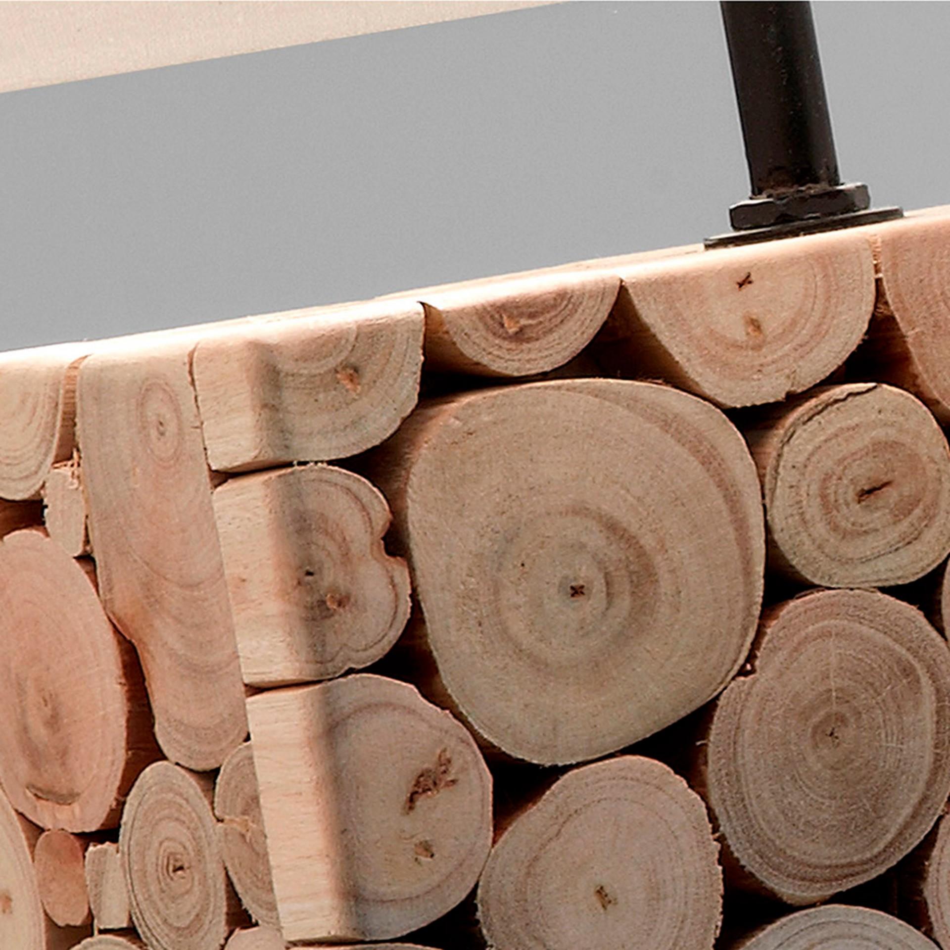 Candeeiro de mesa, madeira tropical, 40x56 cm