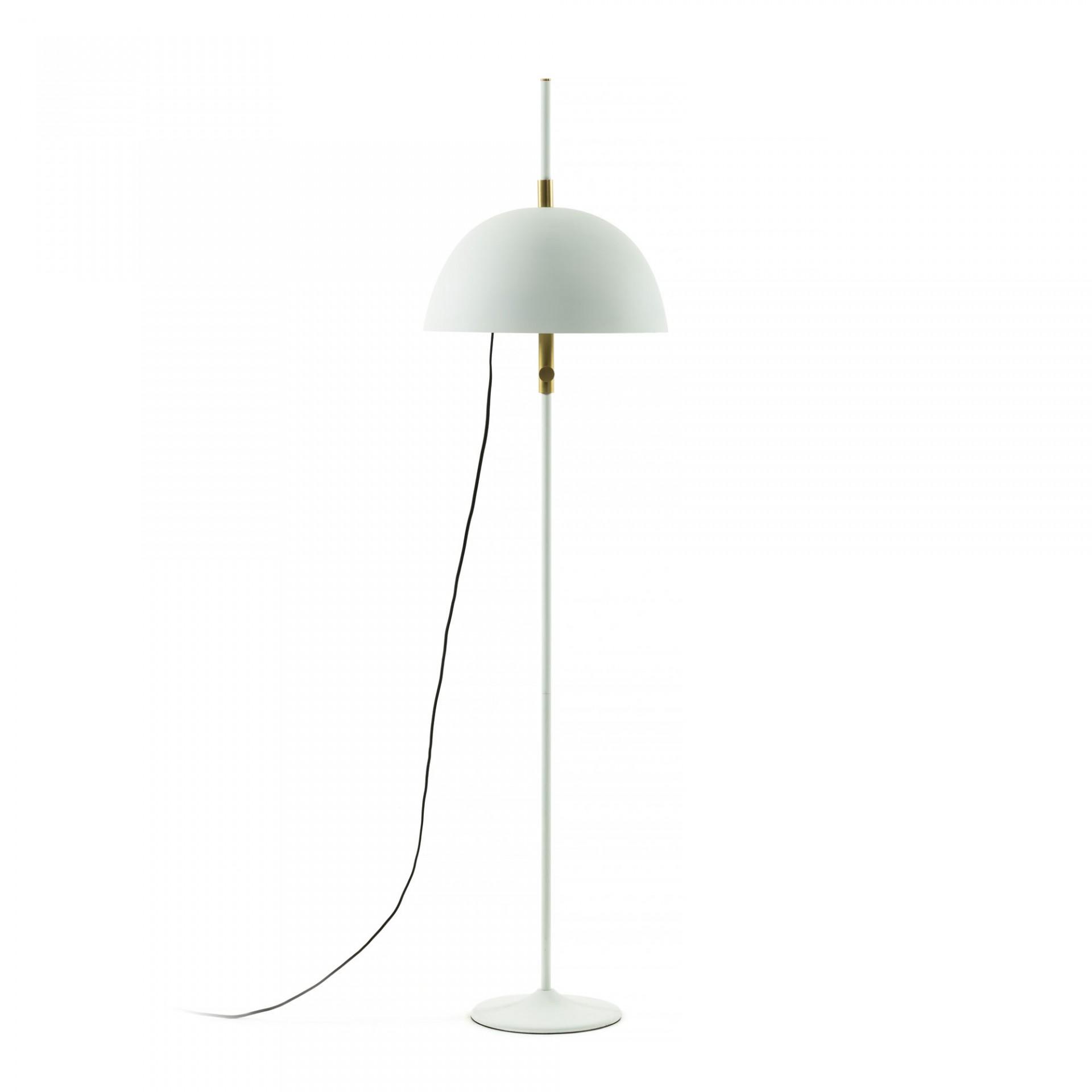 Candeeiro de pé Sina, metal, branco/dourado, Ø40x154 cm