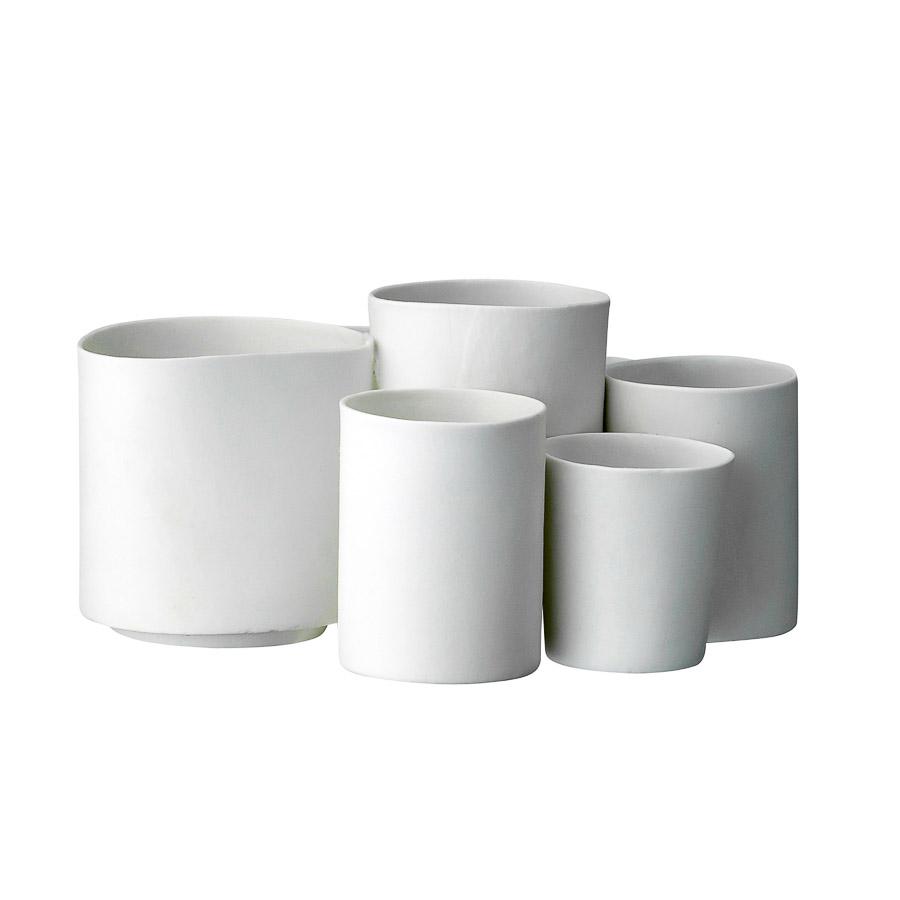 Porta velas em cerâmica, branco, (Conj.8)