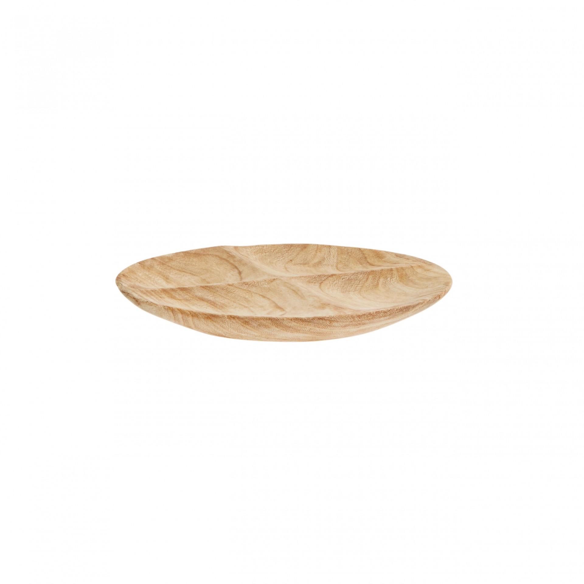 Prato rústico em madeira Paulownia, Ø22 cm