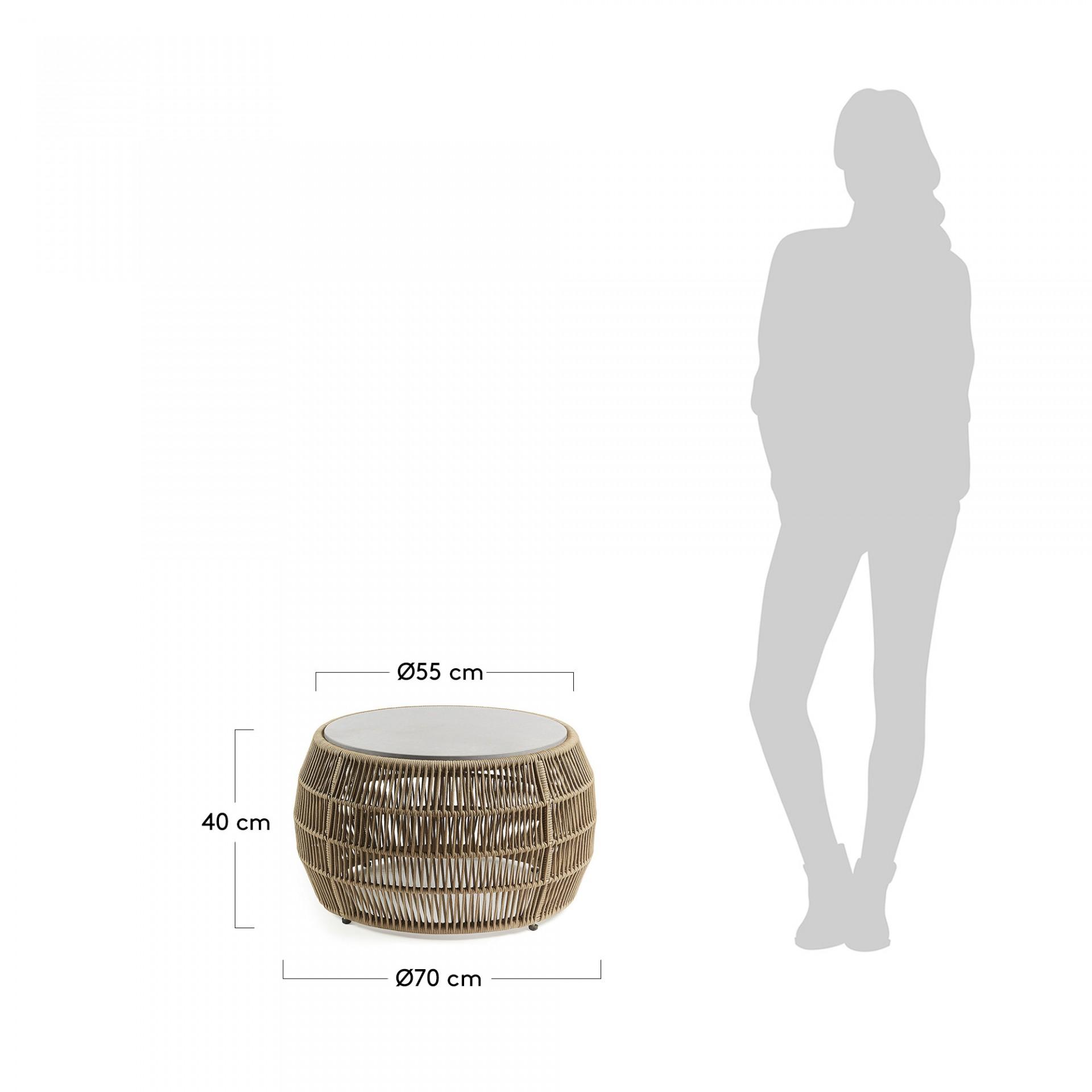 Mesa de centro Gard, tampo em poli-cimento, Ø70x40 cm