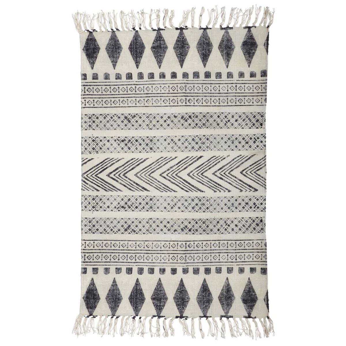 Tapete Block, c/franjas, algodão, 160x230 cm