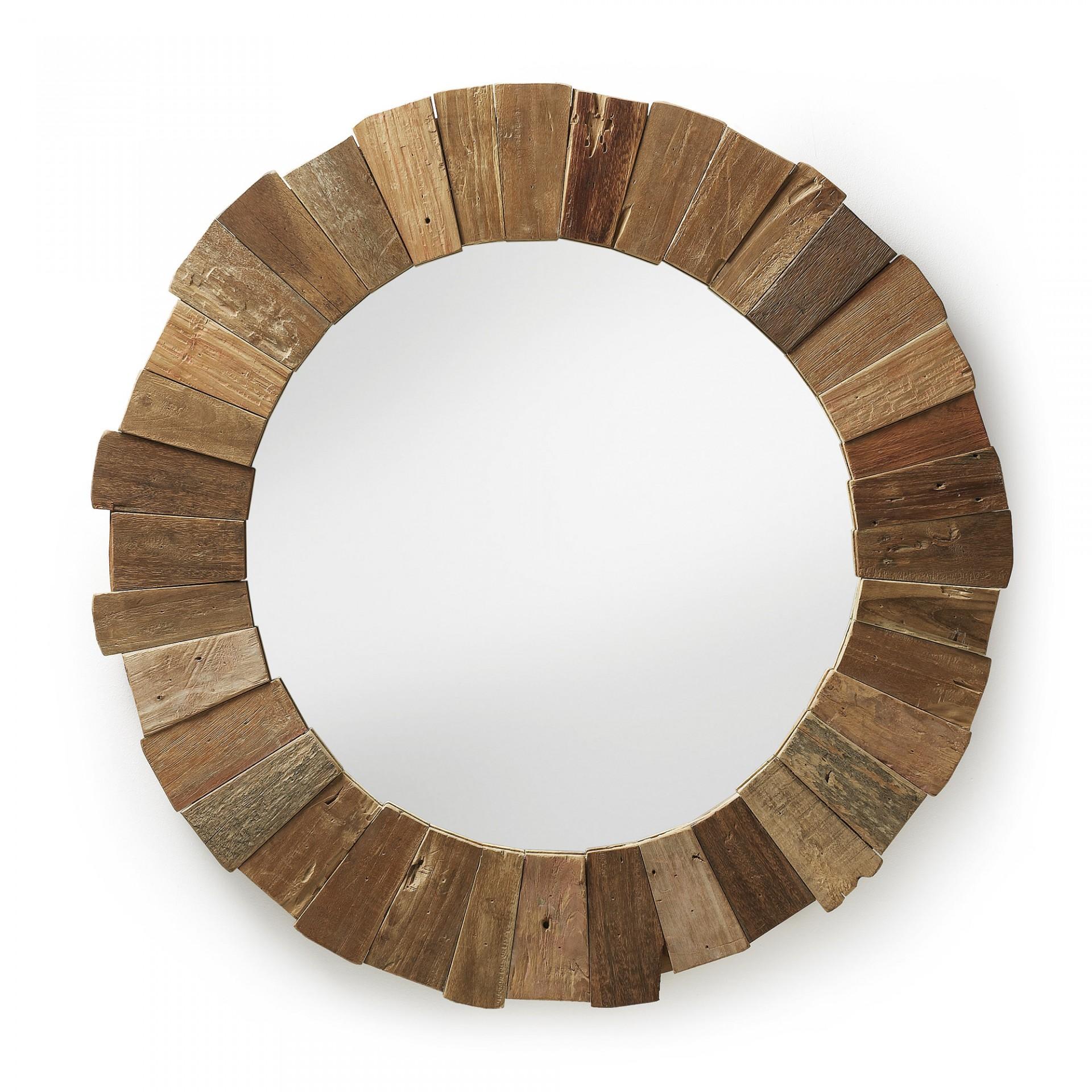 Espelho Indy, madeira teca, Ø110 cm