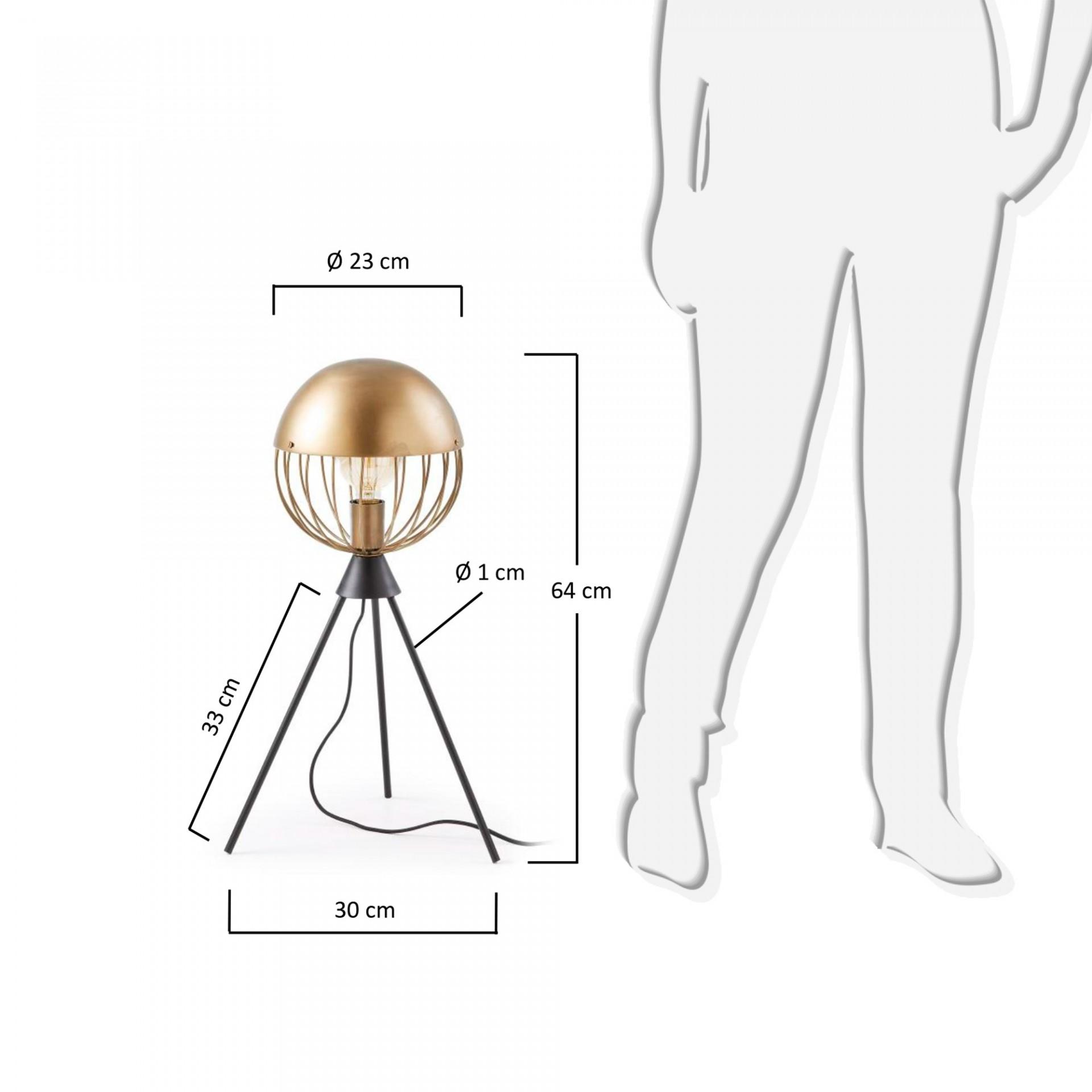 Candeeiro de mesa Glob, metal, Ø23x64cm