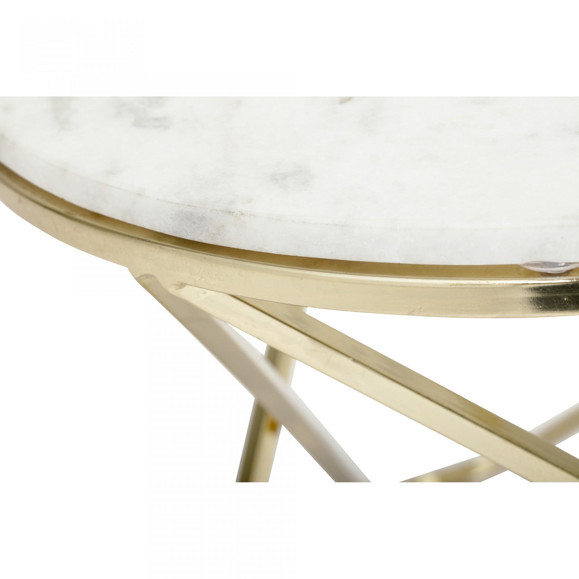 Mesa de centro Nuevo, mármore/metal, branco/dourado, Ø57x50 cm