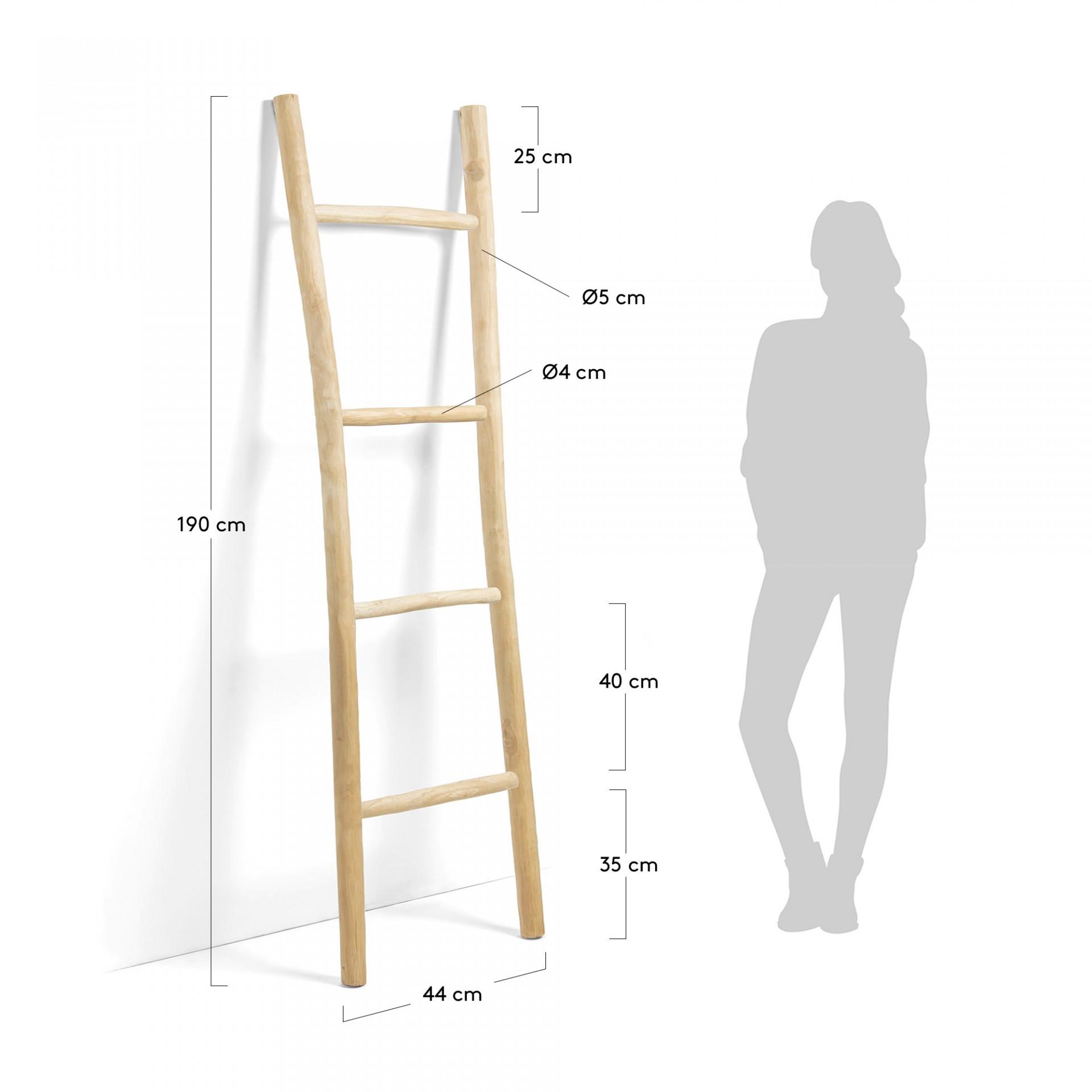 Escada decorativa em madeira de teca natural, 190x55 cm