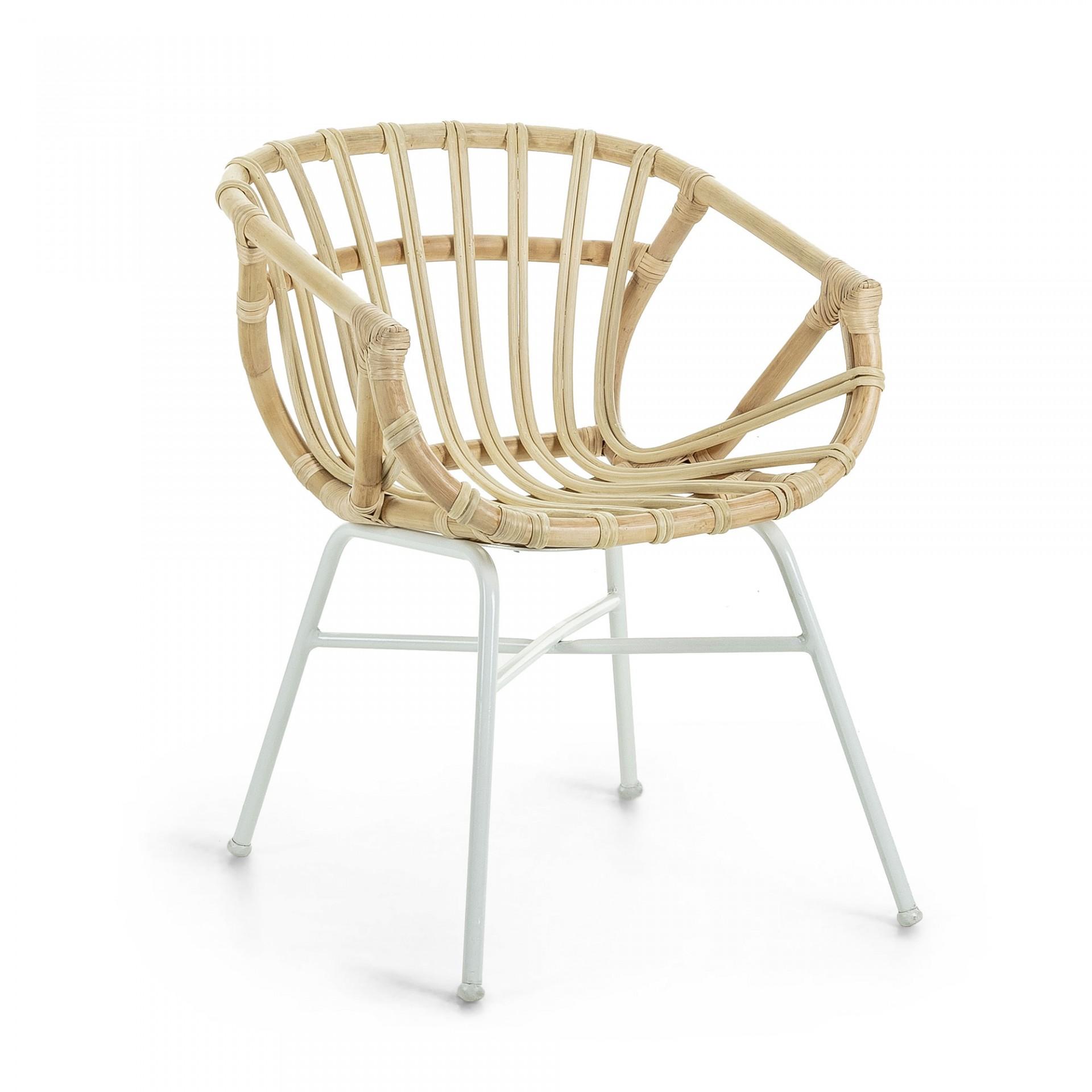 Cadeira c/braços, vime/metal, branco