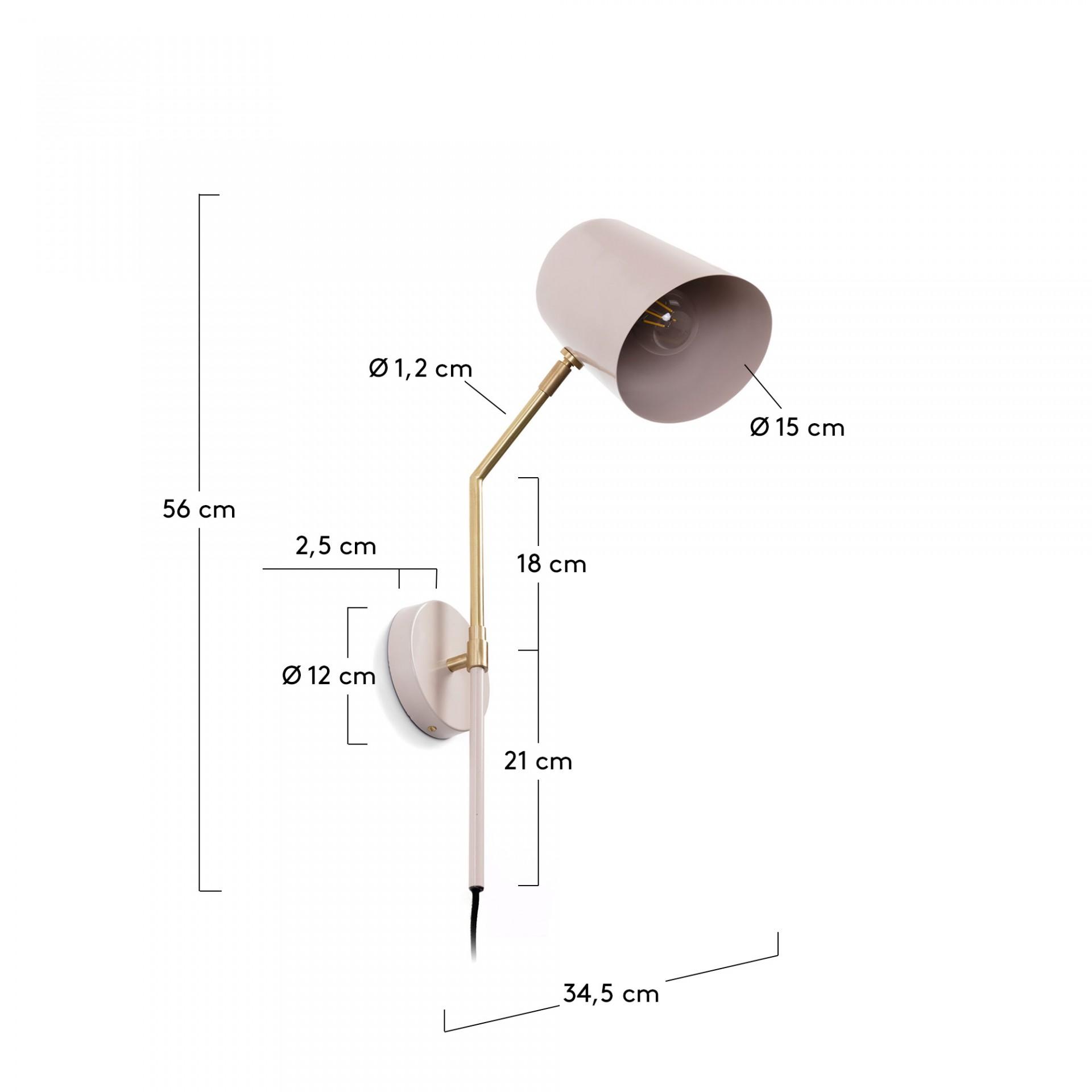 Candeeiro de parede Kyra, regulável, metal, Ø15x56 cm