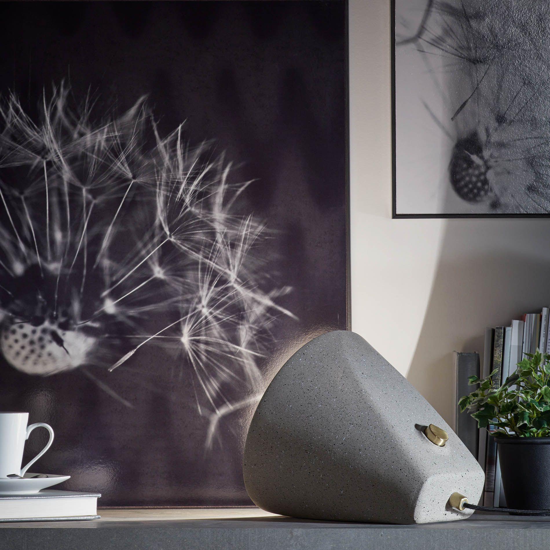 Candeeiro de mesa Alcatra, cimento, cinza claro, Ø24x26 cm
