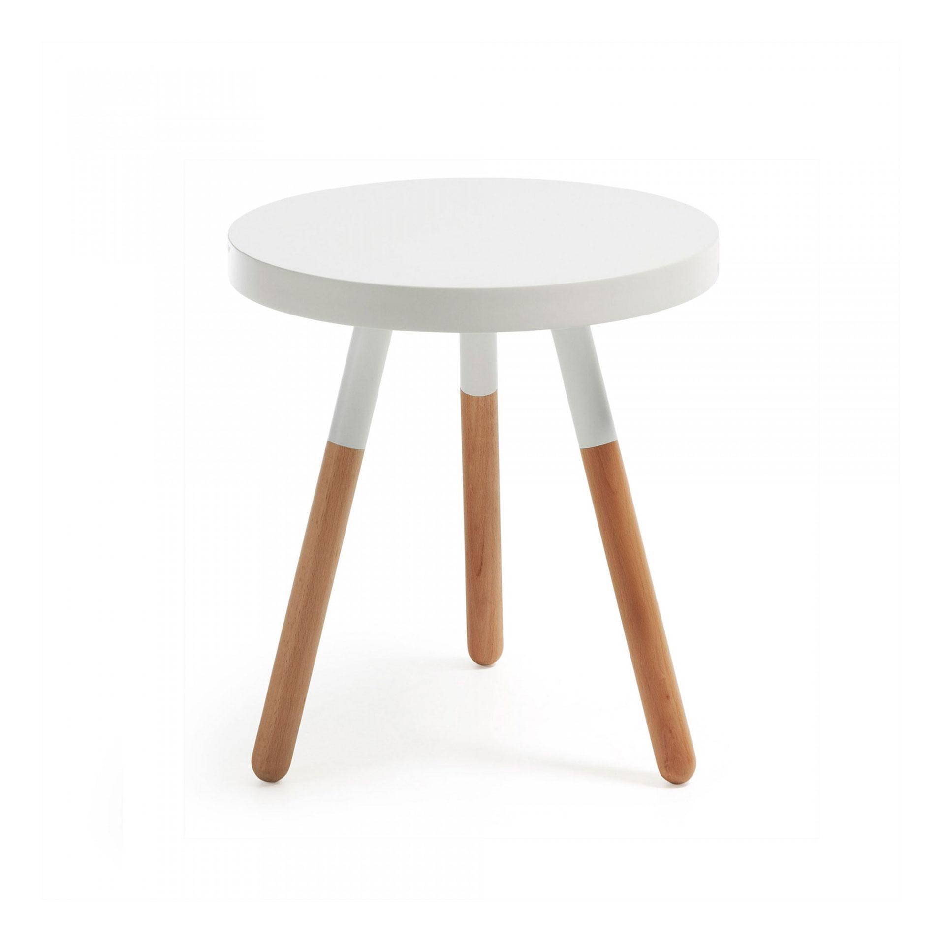 Mesa de apoio em madeira faia/MDF lacado, Ø48x50 cm