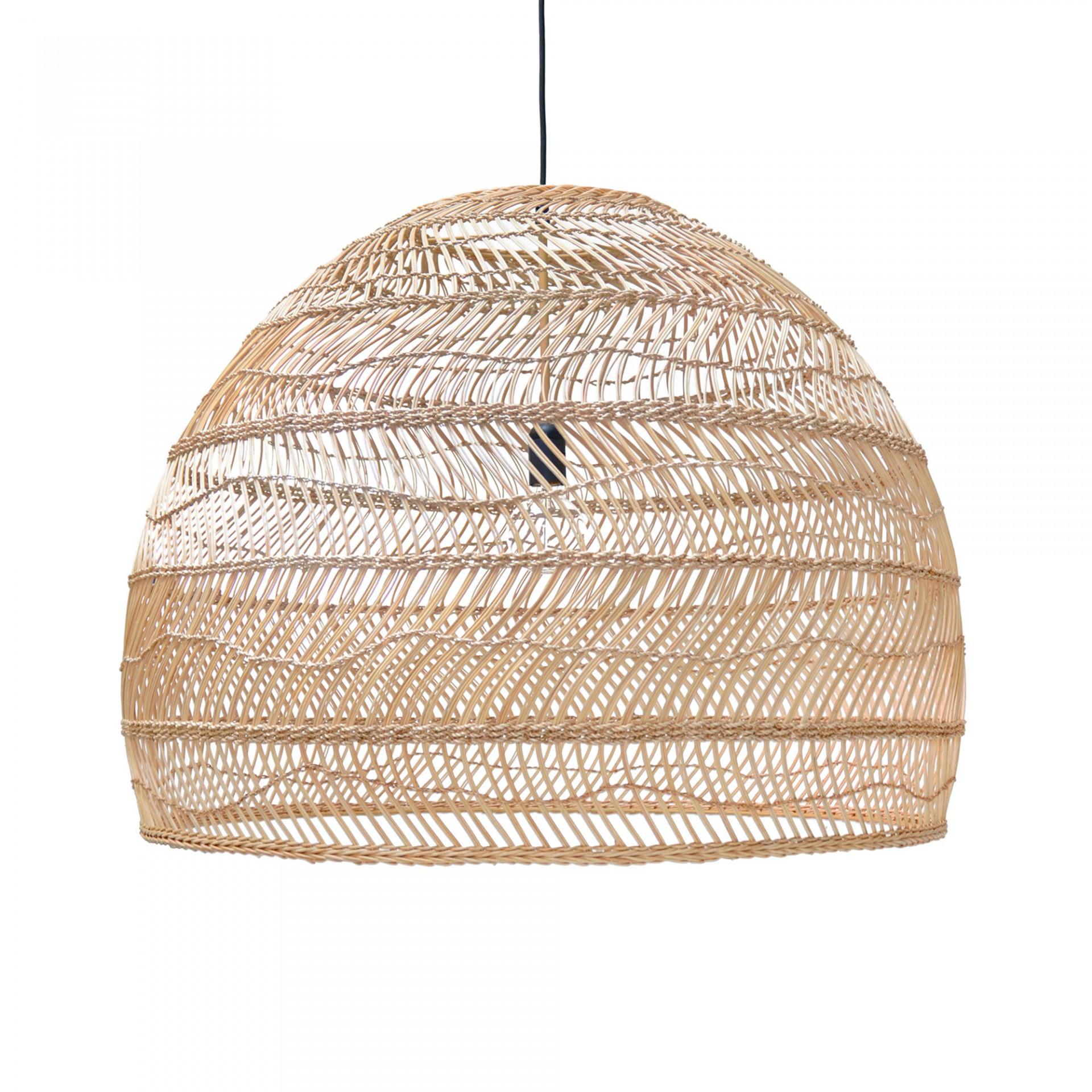 Candeeiro de tecto, vime natural, Ø80x60 cm