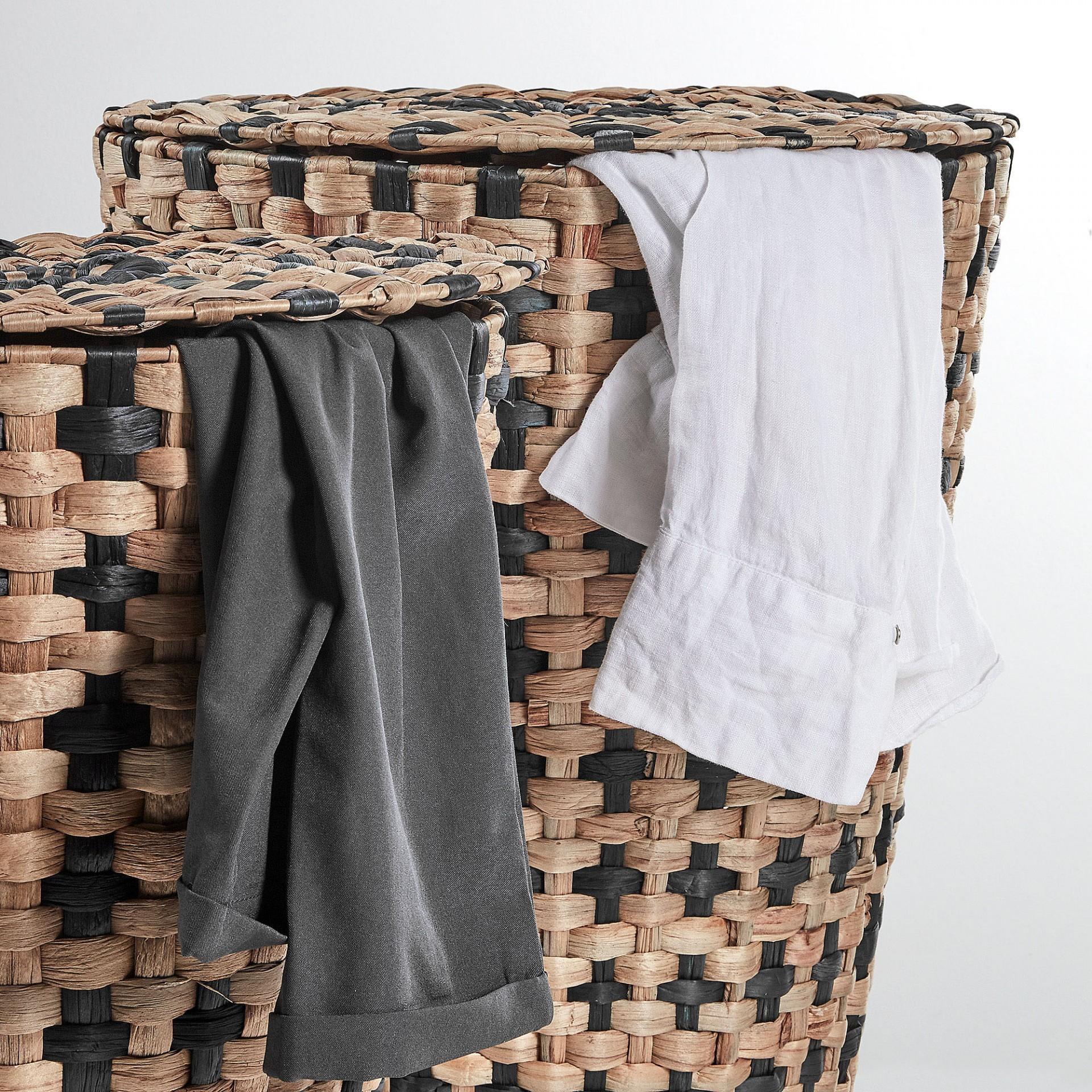 Cestos p/roupa, Jacinto-de-água, preto, (Conj.2)