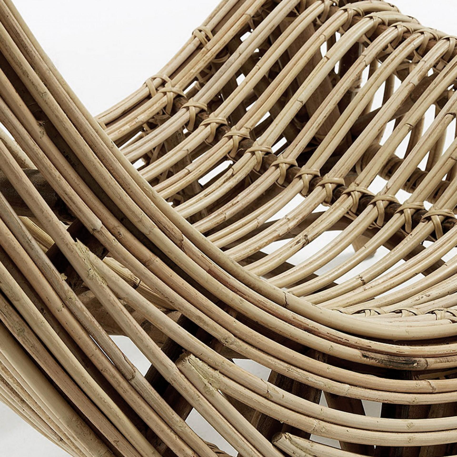 Cadeirão Bali em madeira mogno/vime natural