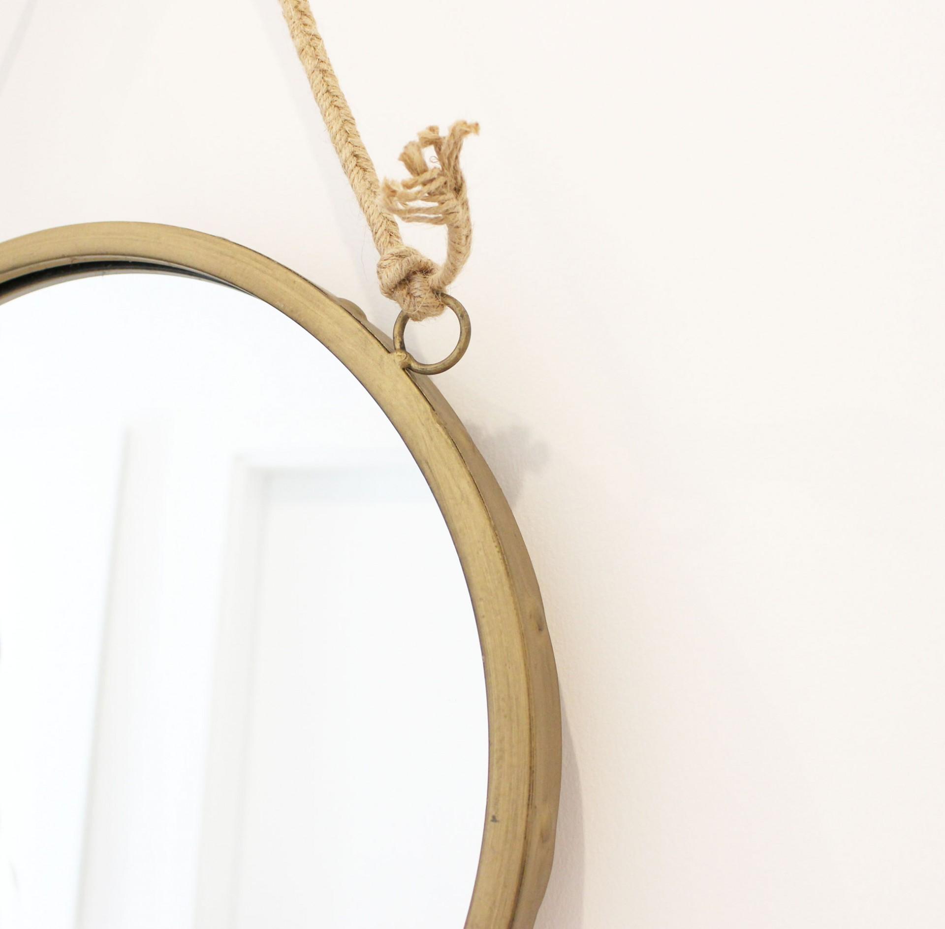 Espelho c/corda em juta, dourado, Ø36 cm