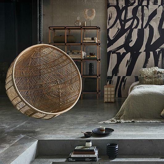 Cadeira suspensa, vime natural, Ø104x68 cm