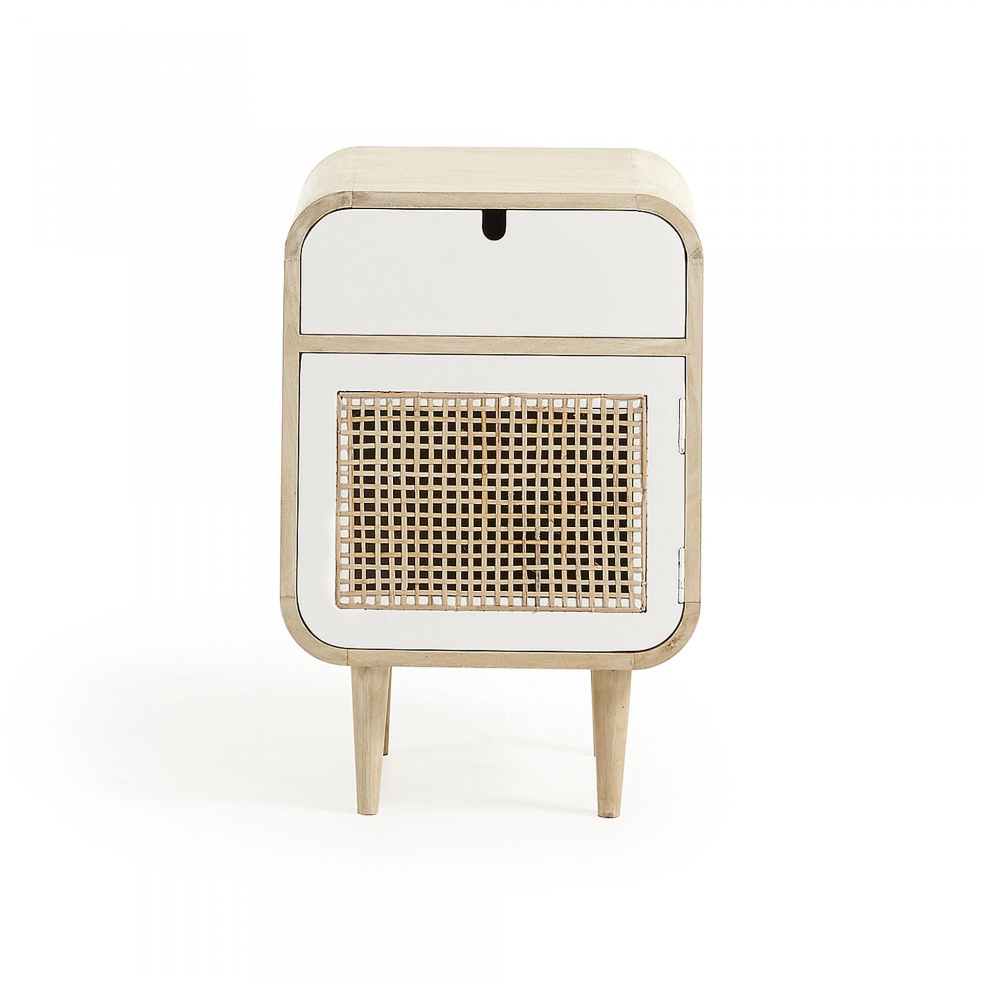 Mesa de cabeceira Geo, madeira de manga natural/cana bambú, 40x60 cm