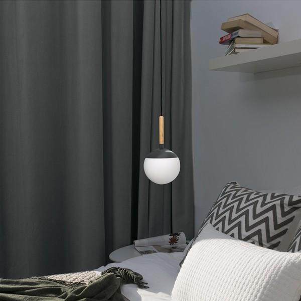 Candeeiro de tecto Minner, madeira/vidro opalino, Ø18,5×35 cm