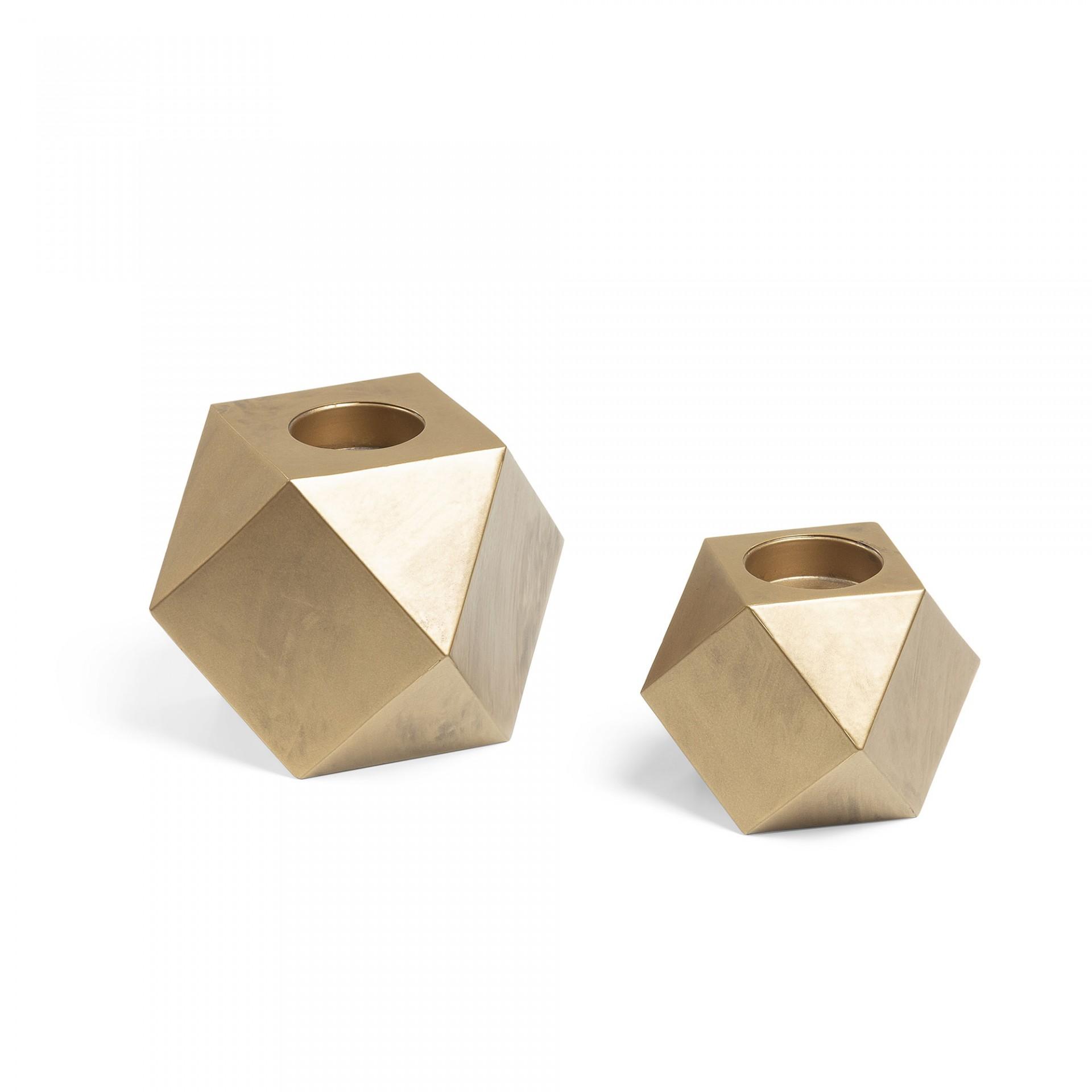 Porta velas em metal, dourado, (Conj.2)