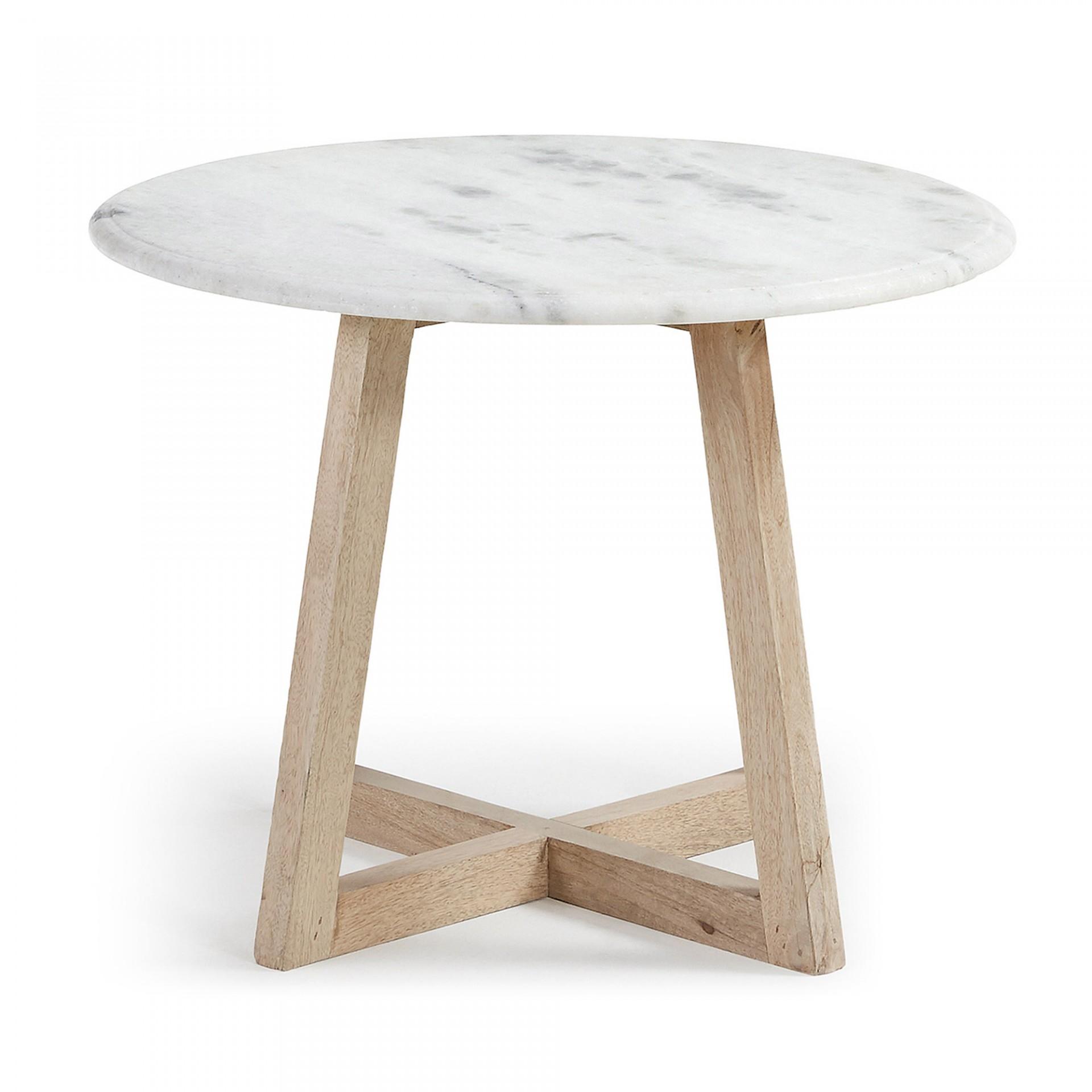 Mesa de centro em madeira manga/mármore branco, Ø50x35 cm