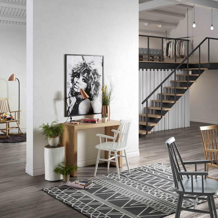 Cadeira c/braços, madeira de seringueira natural, branco