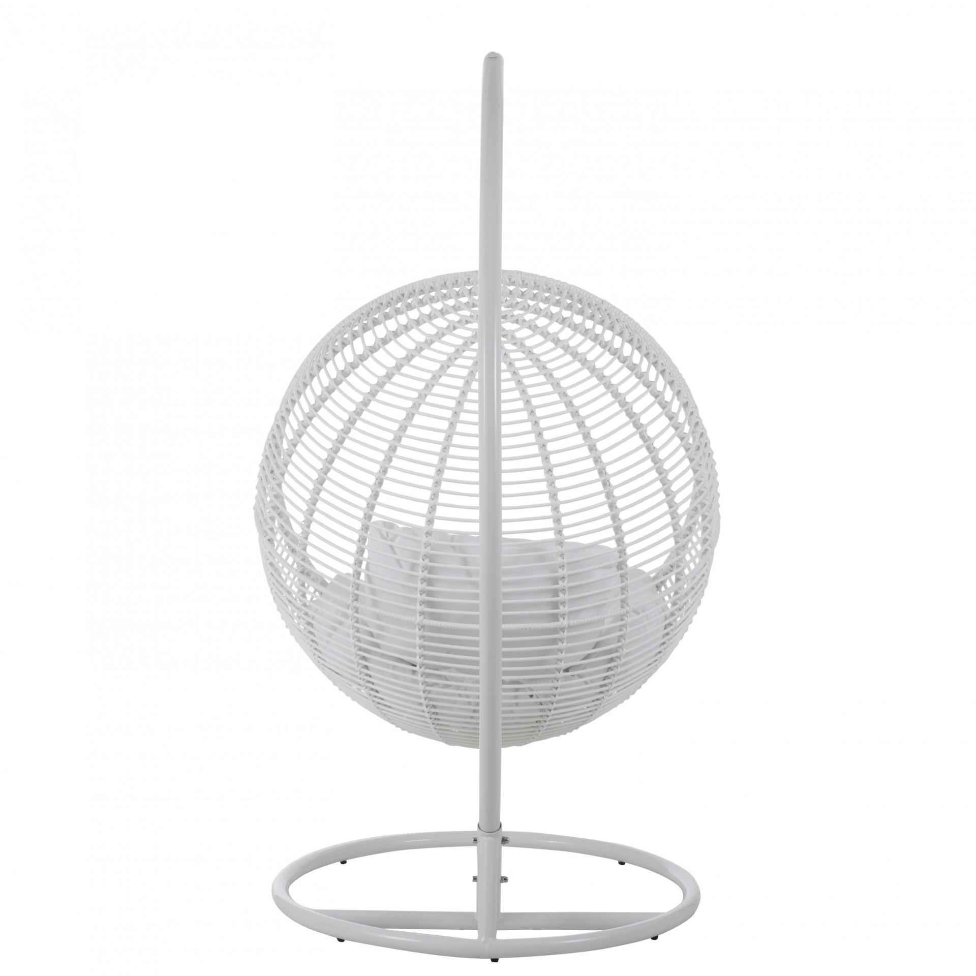 Cadeira suspensa c/base, metal/vime, branco, 119x110x193