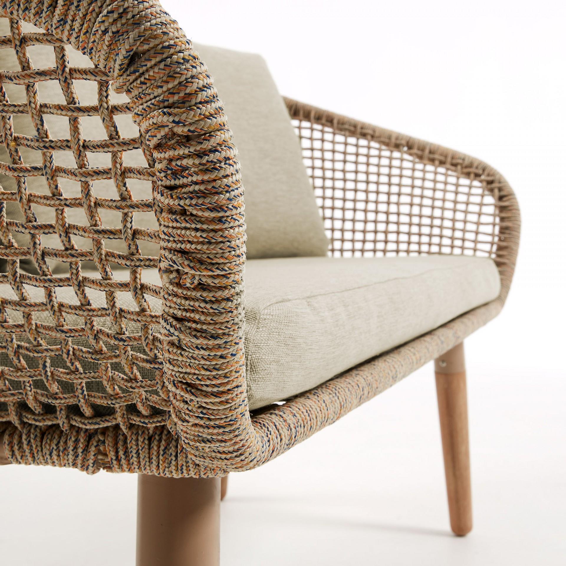 Sofá em madeira de eucalipto/corda poliéster, 77x131 cm