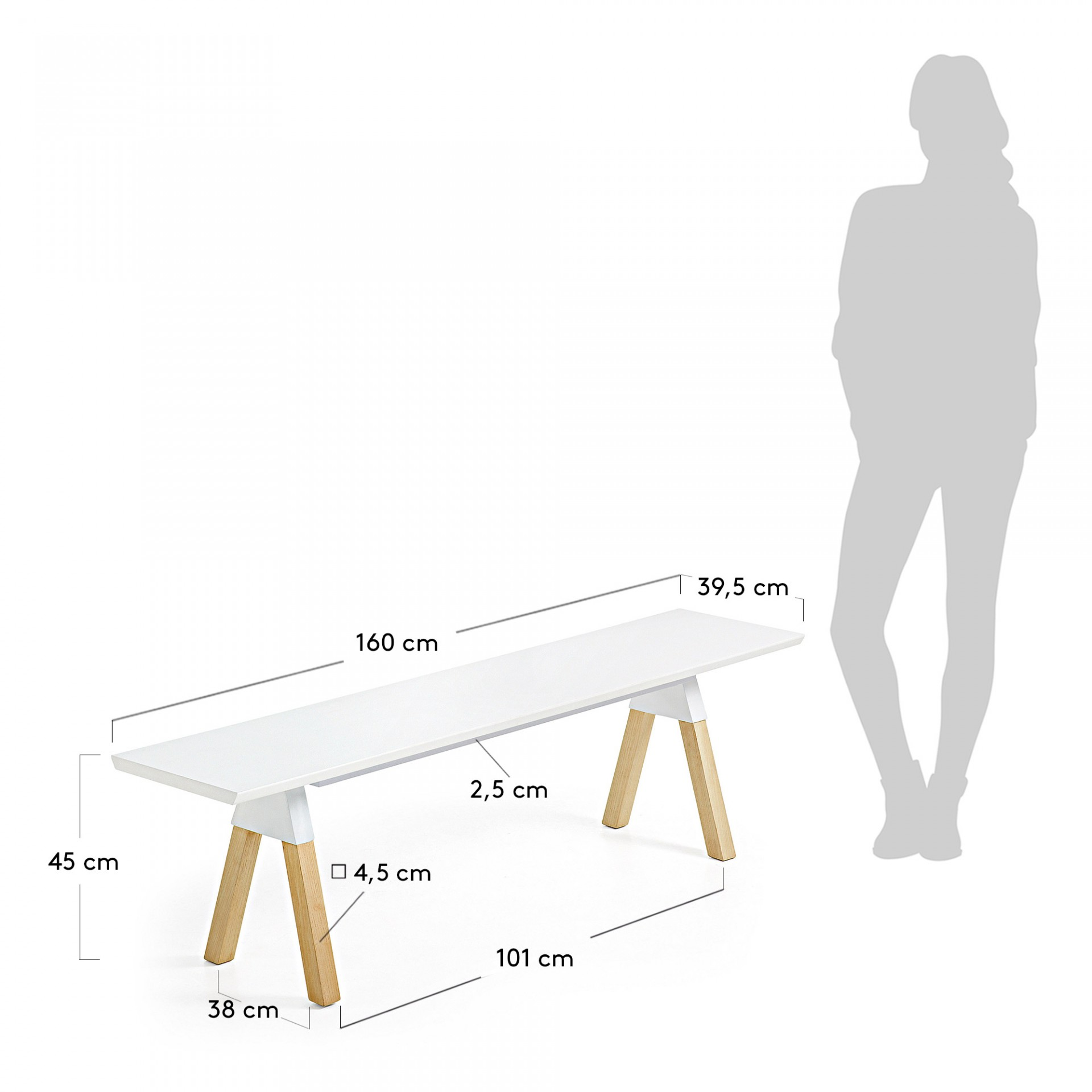 Banco longo, madeira de freixo/MDF lacado, 40x160 cm
