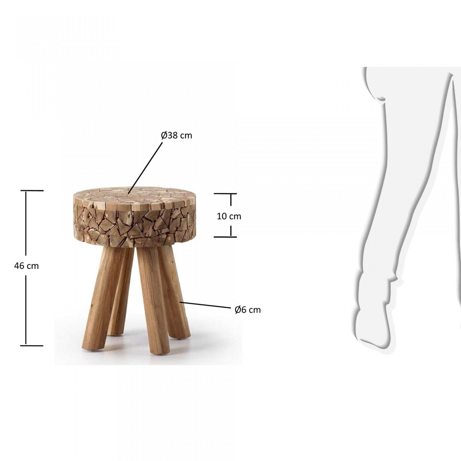 Mesa de apoio em madeira teca natural, Ø38x46 cm